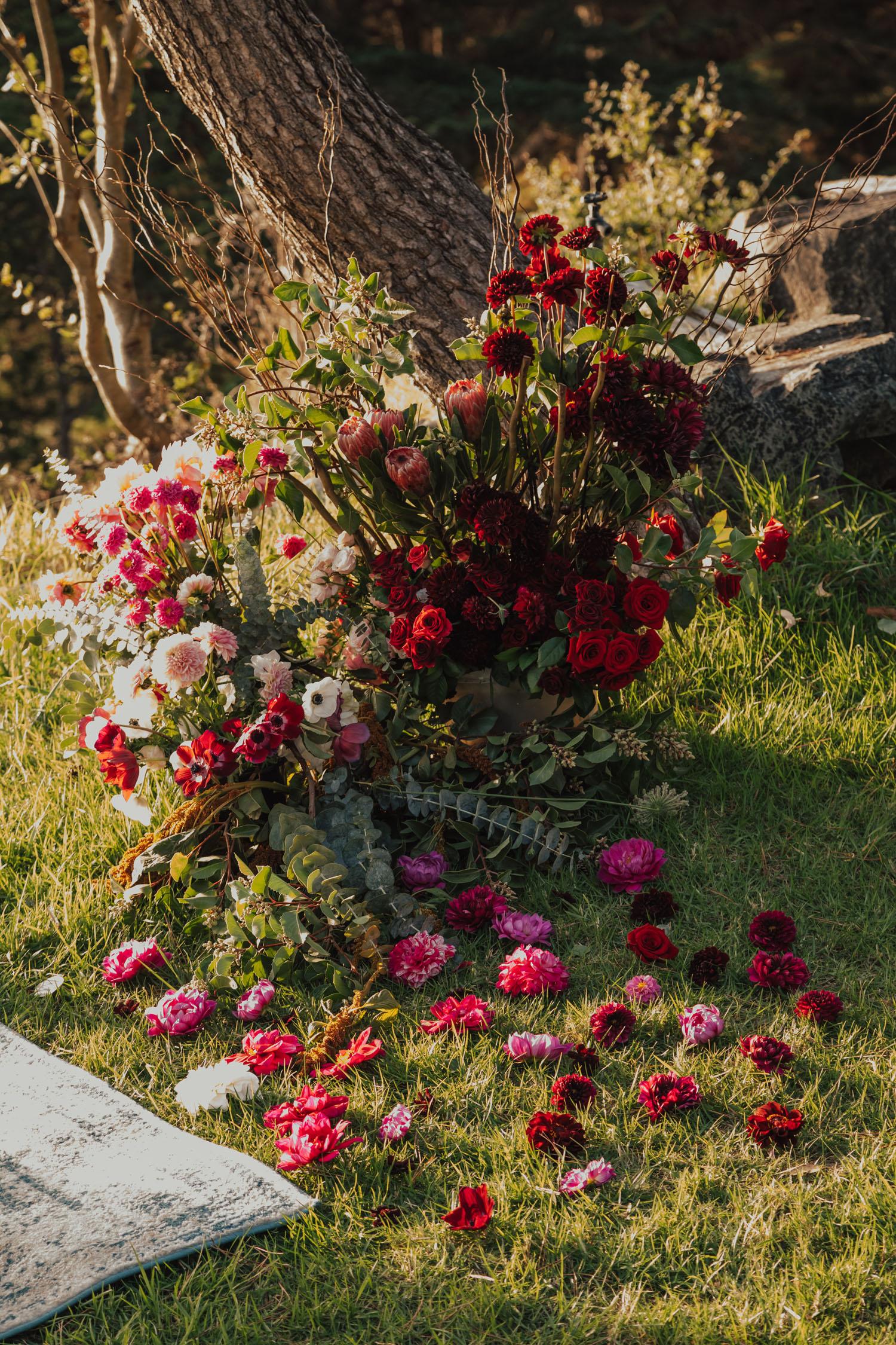 boho Big Sur red wedding flowers