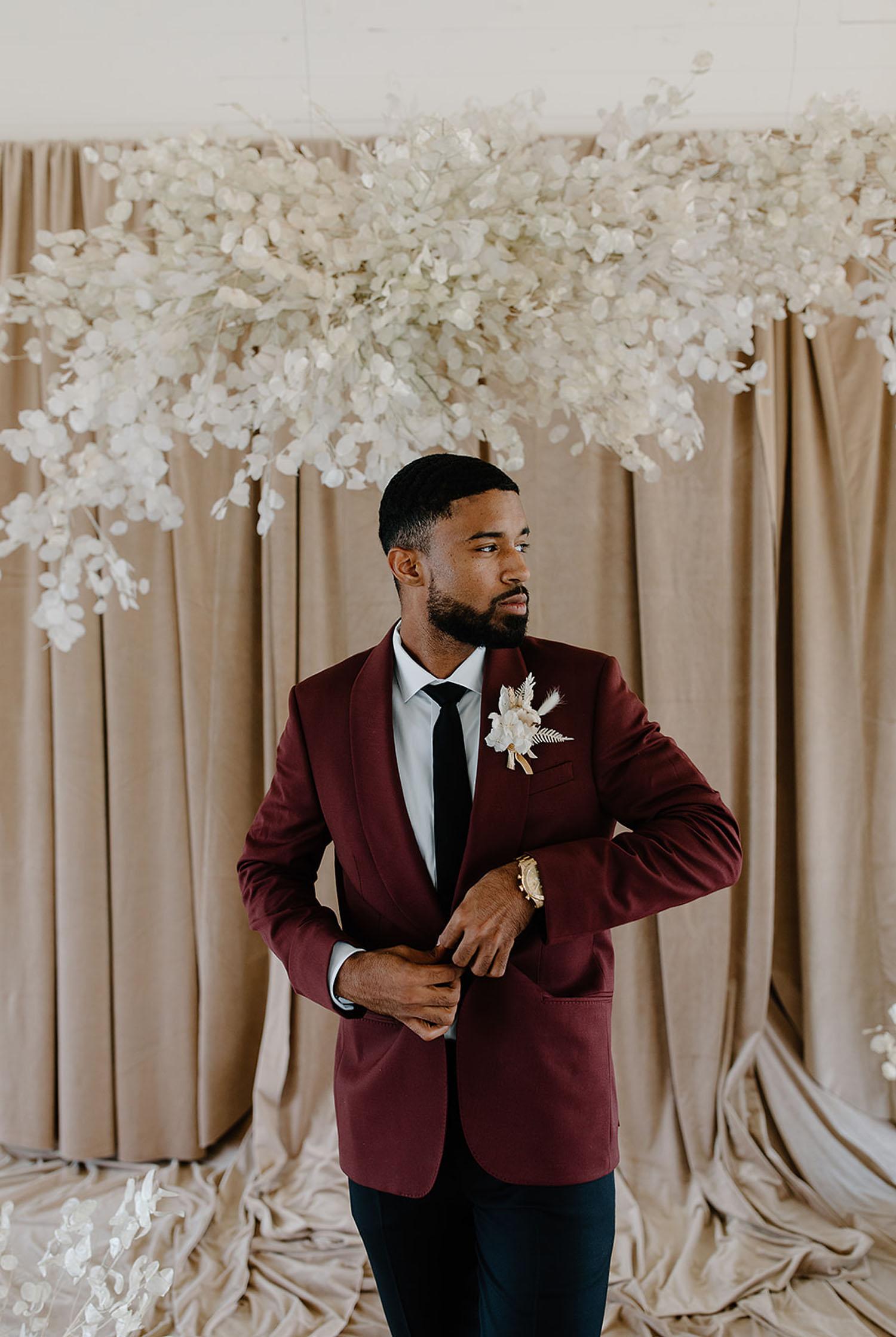 burgundy grooms jacket