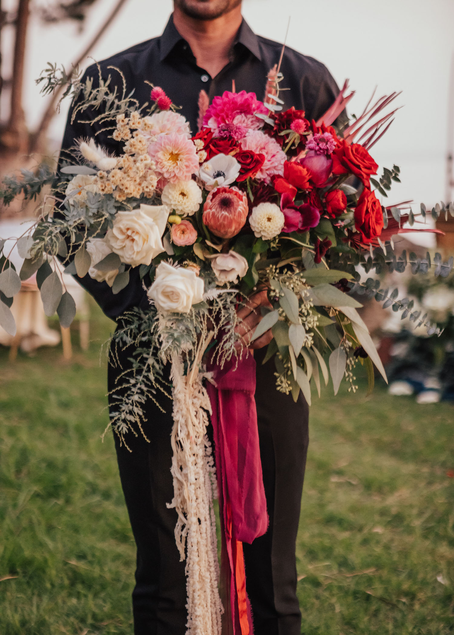 giant red and white bouquet
