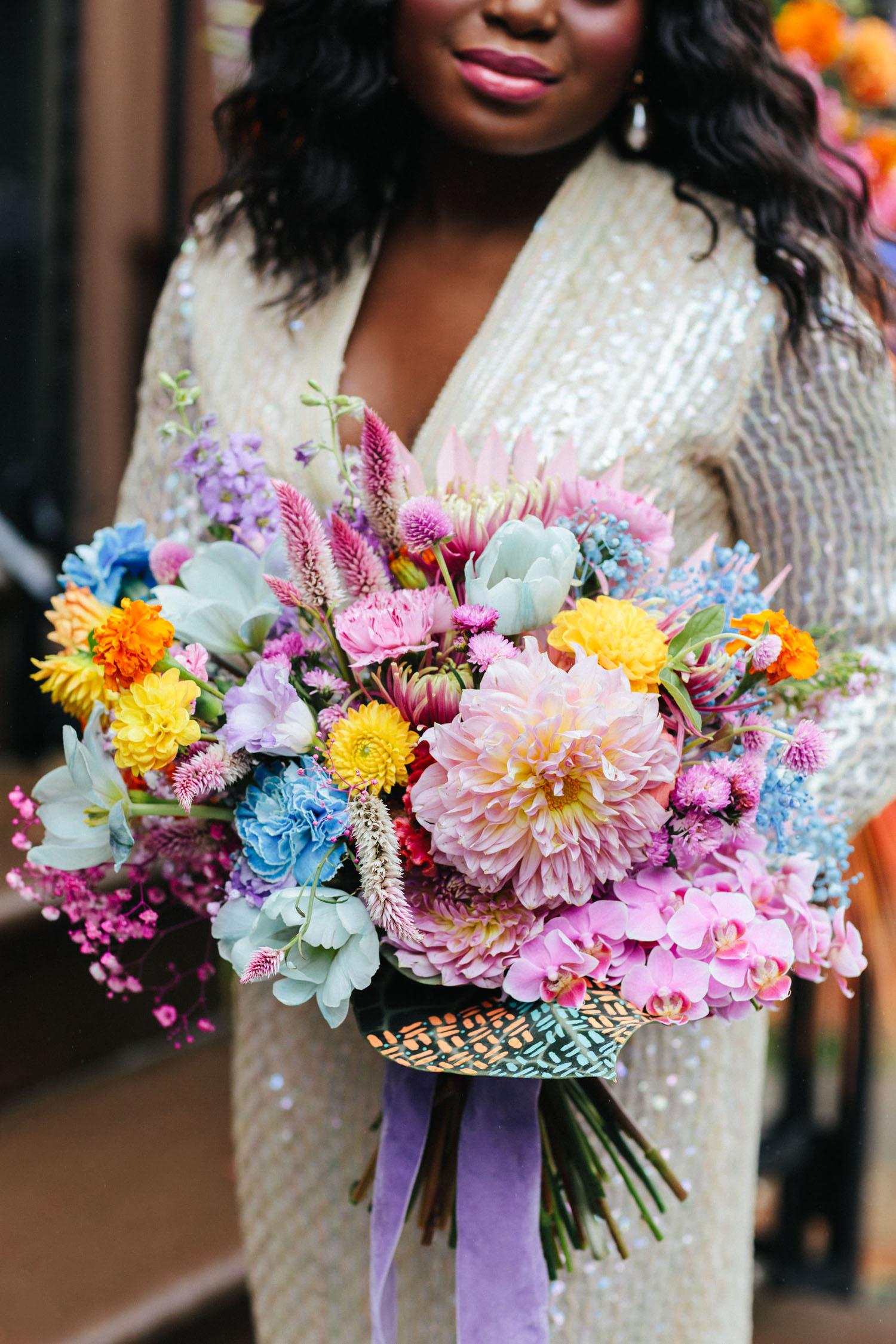 bouquet arc en ciel pastel
