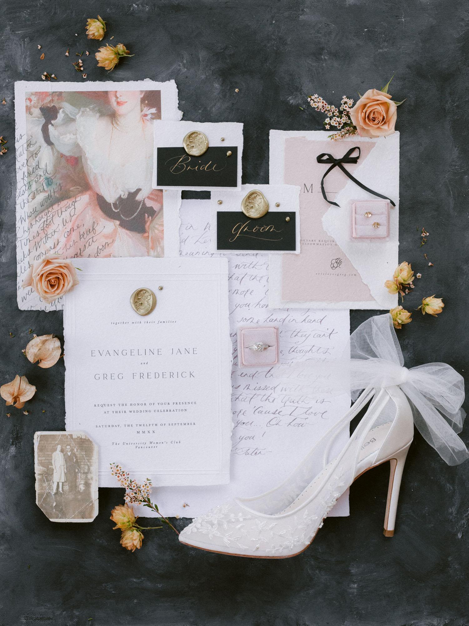 wedding invitation flat lay