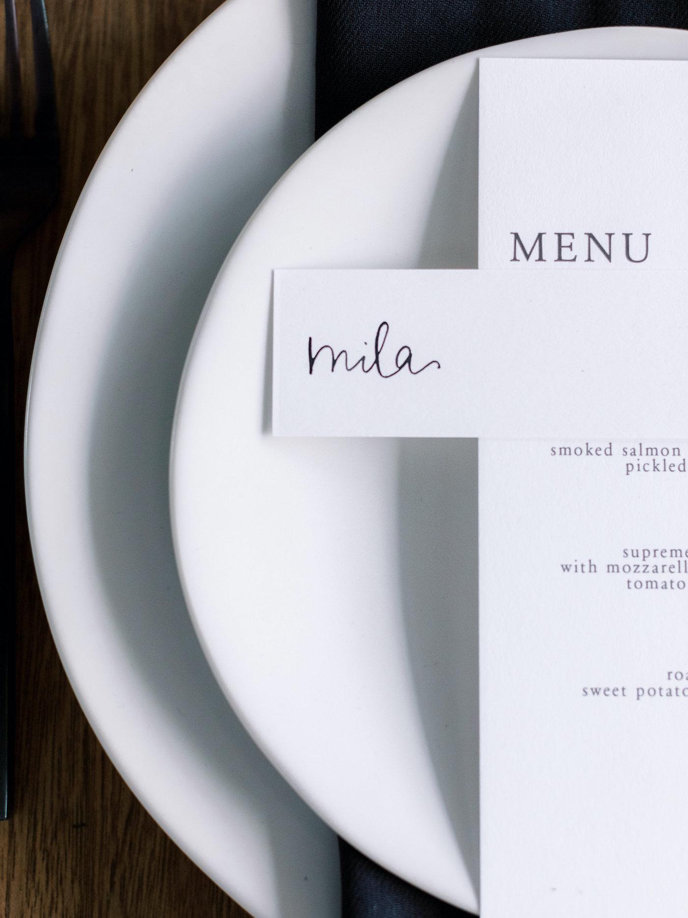 white minimalist table setting