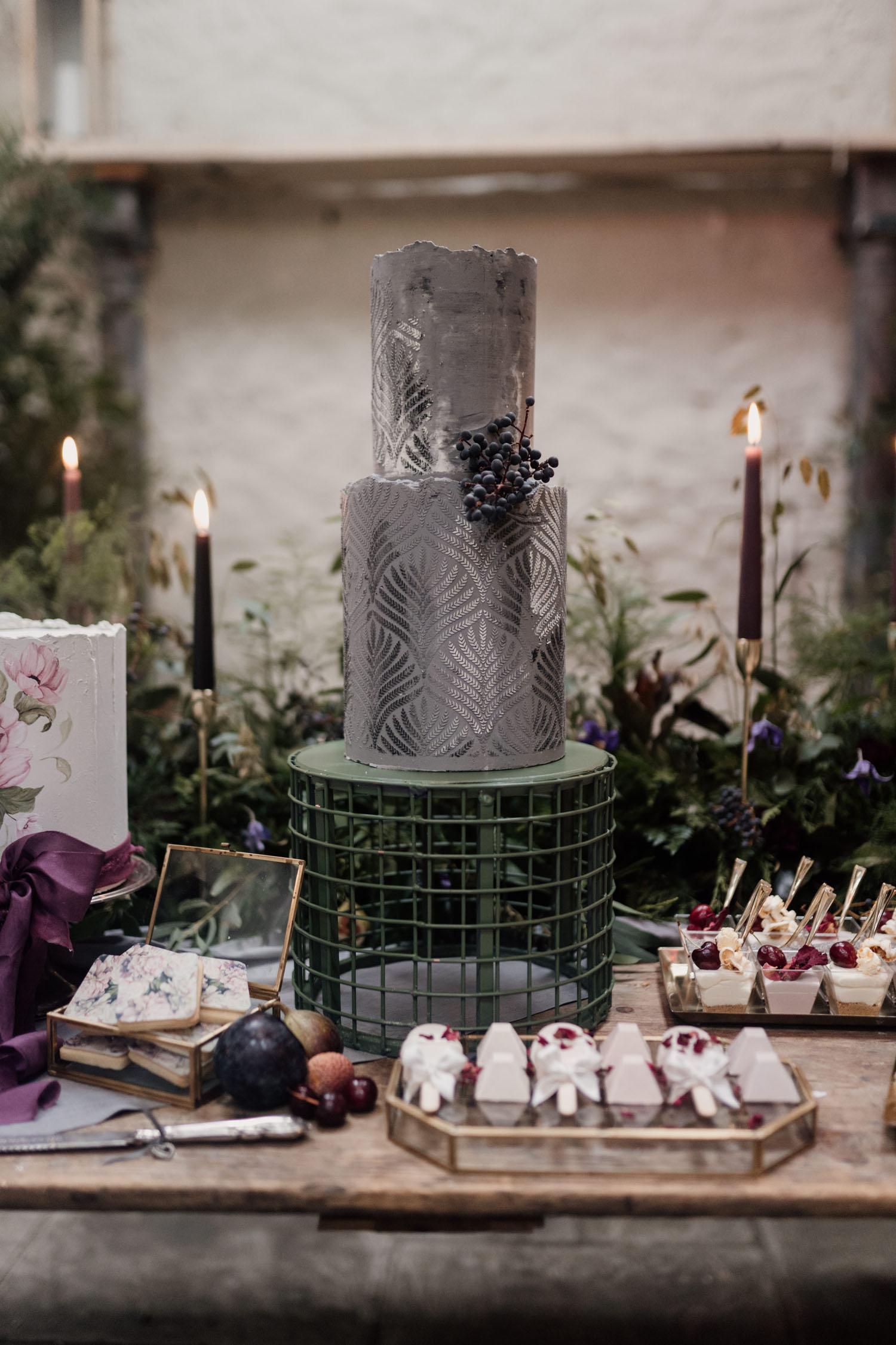 gray modern wedding cake