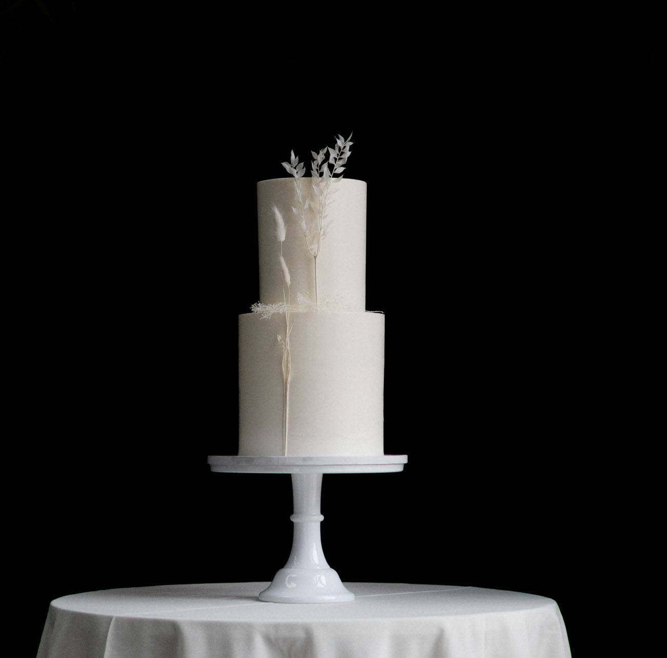 white boho wedding cake