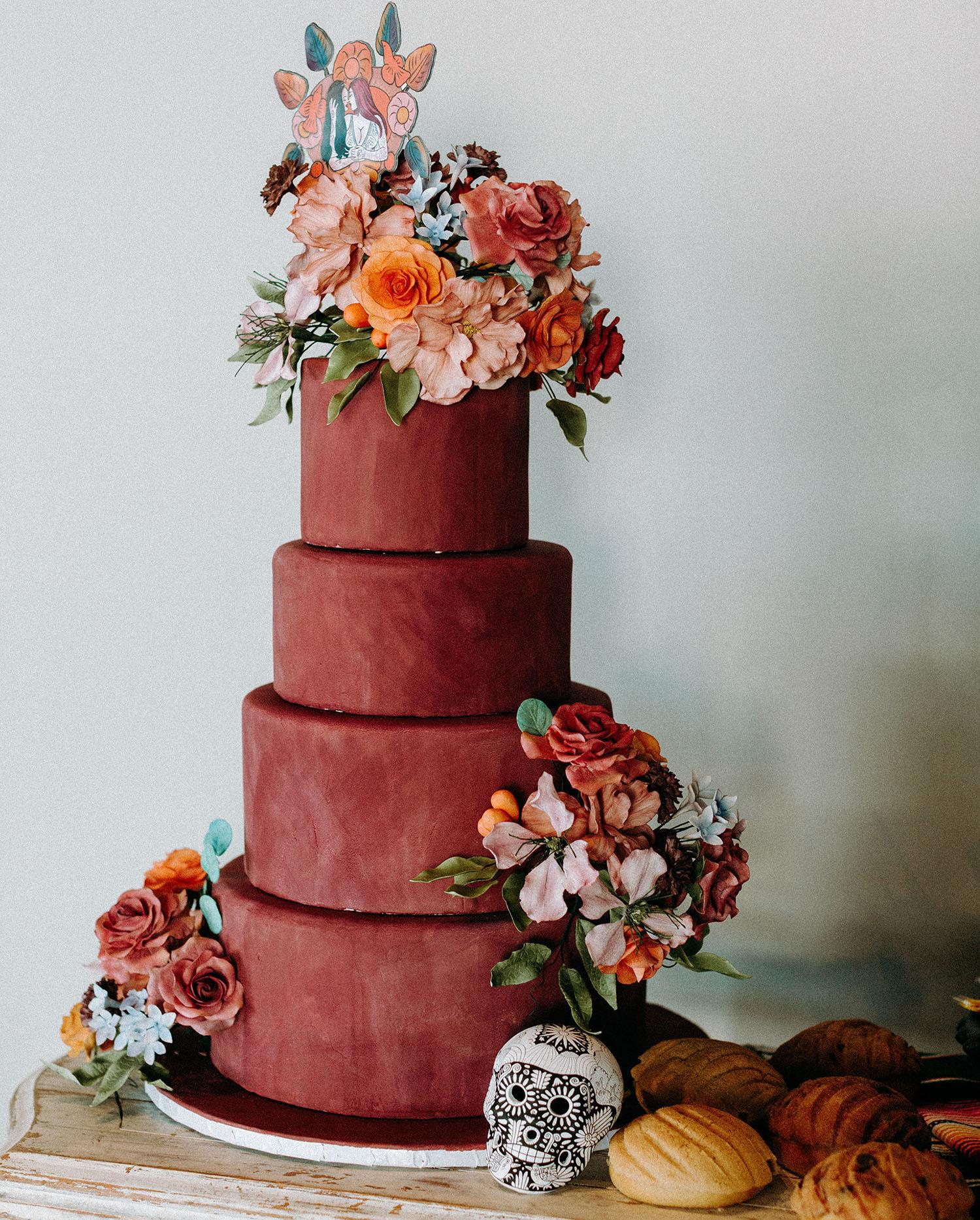 rust wedding cake