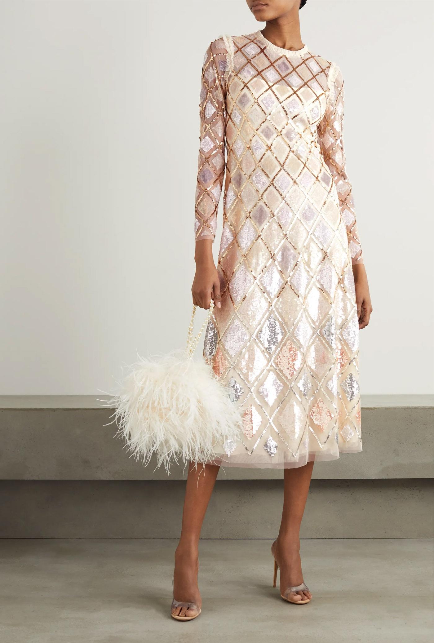 pastelna haljina sa šljokicama