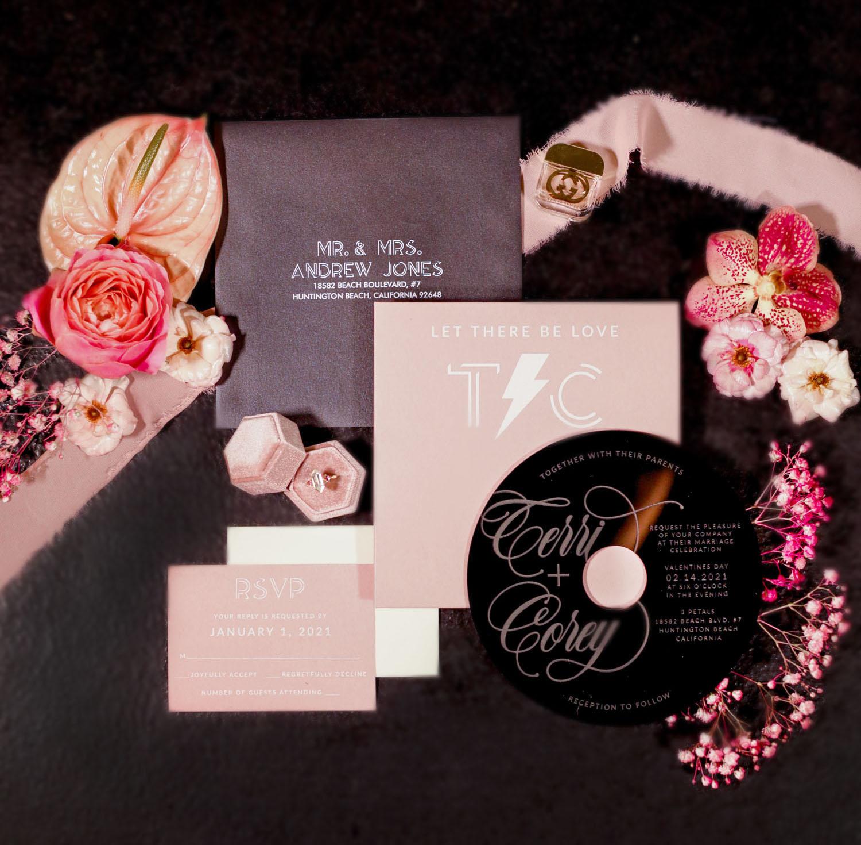 vinyl inspired invitation suite