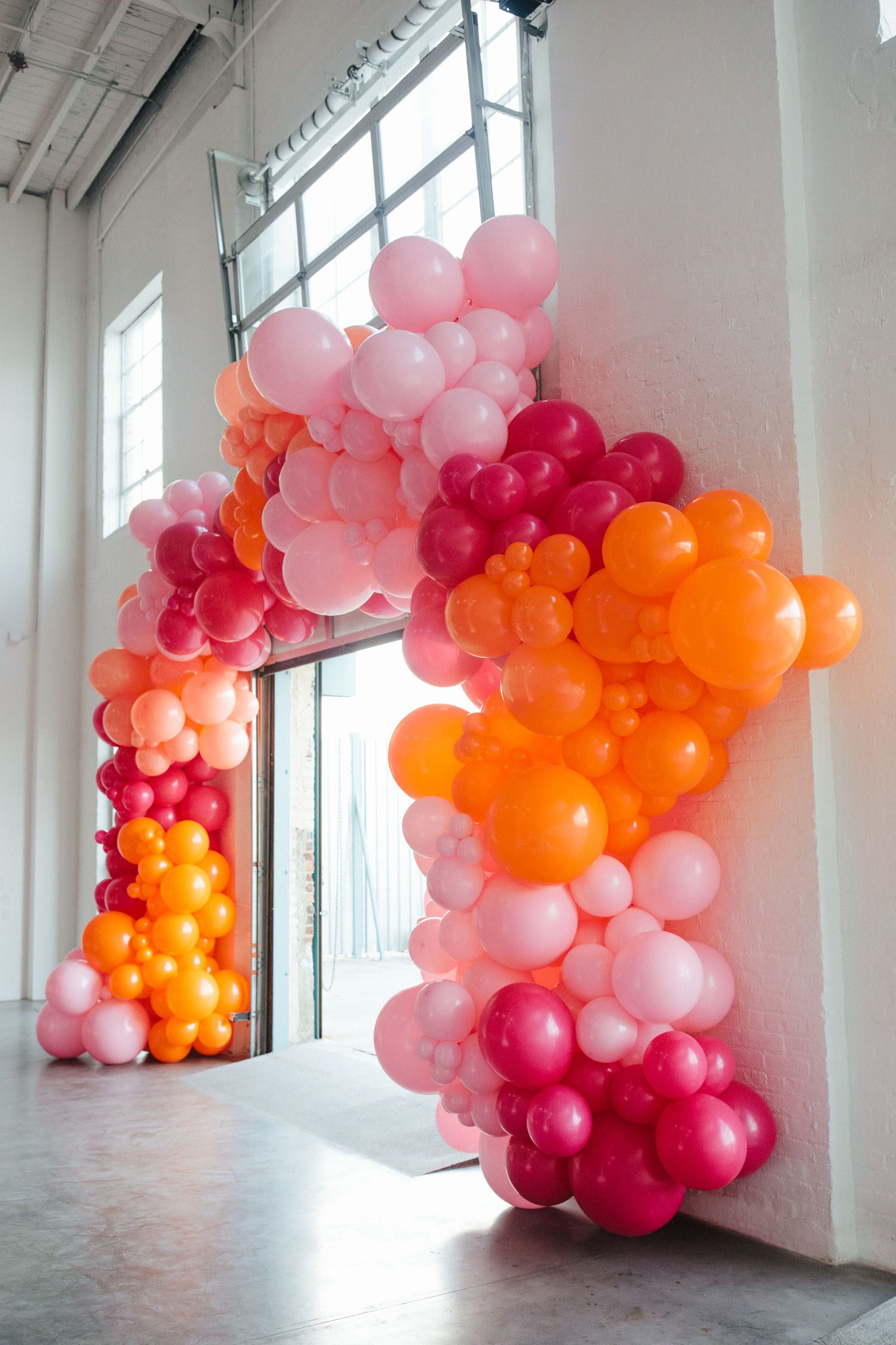Pink and Orange Balloon Installation