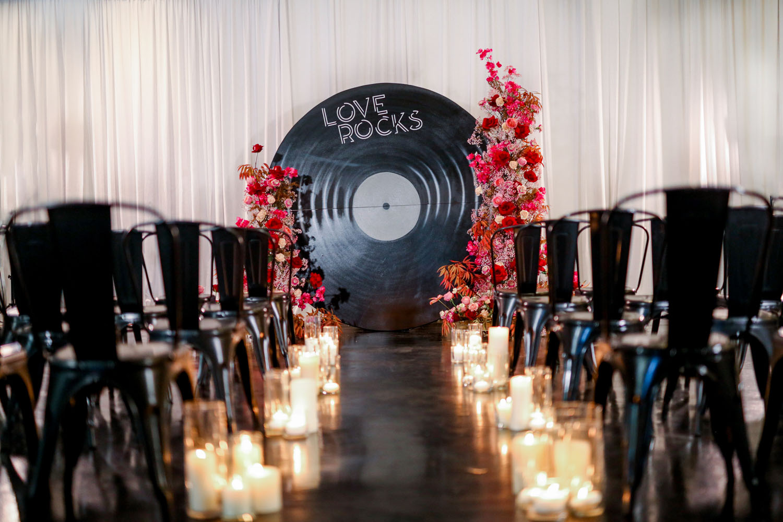 Vinyl Record Ceremony Backdrop