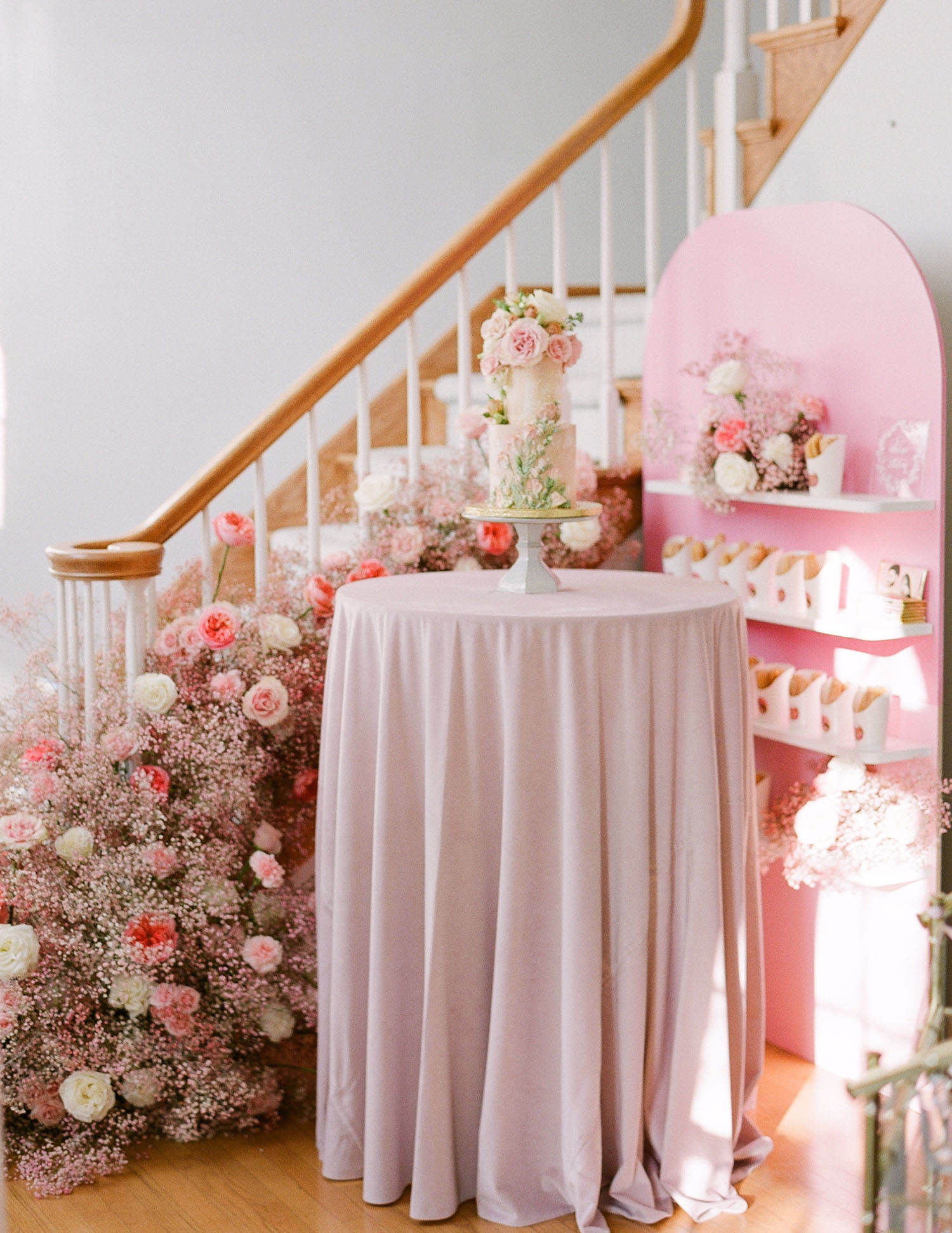 Intimate Pink Engagement Party