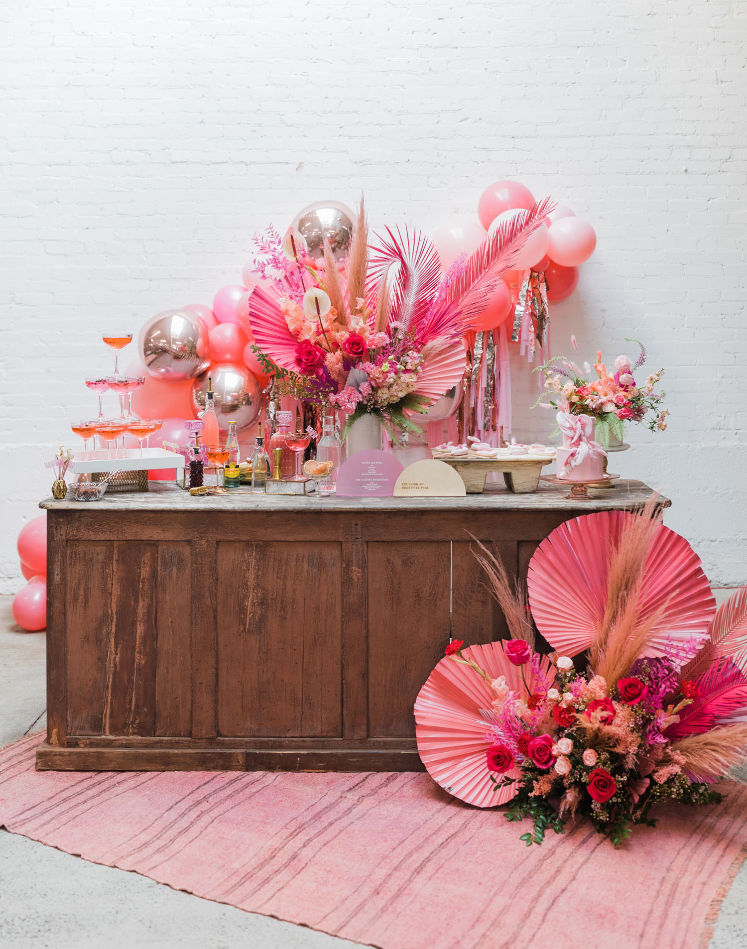 pink dried palm decor