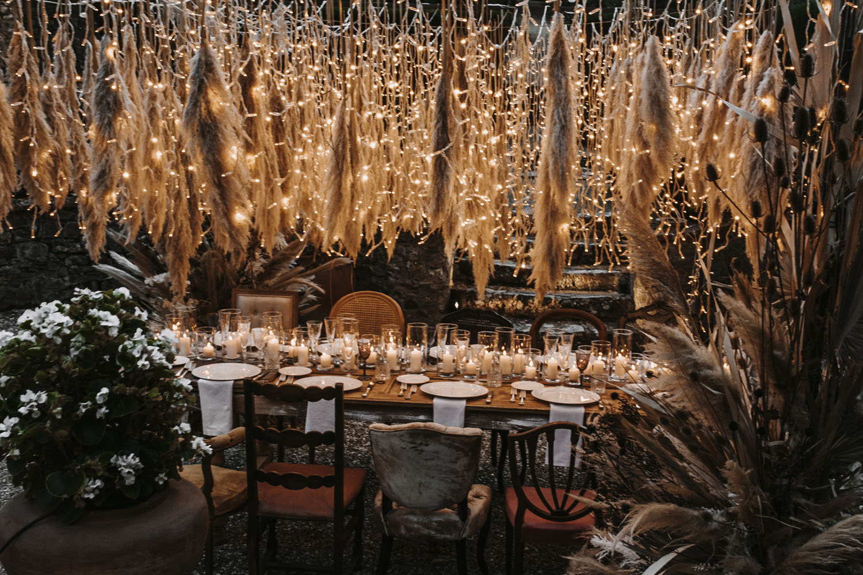 Fairy Light Pampas Grass Wedding Inspiration