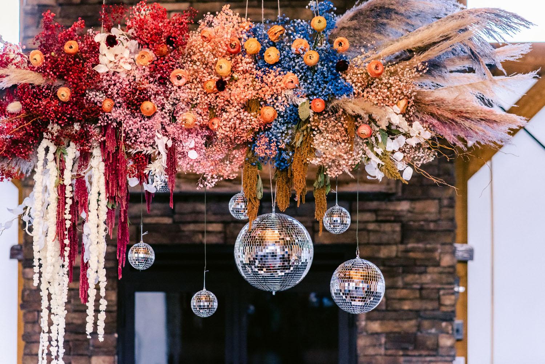 disco ball tablescape decor