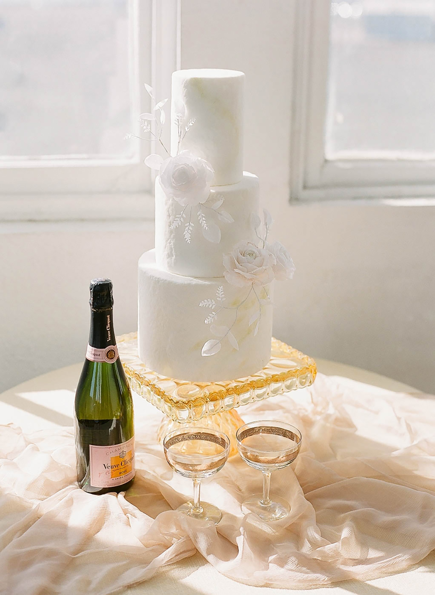 White modern wedding cake