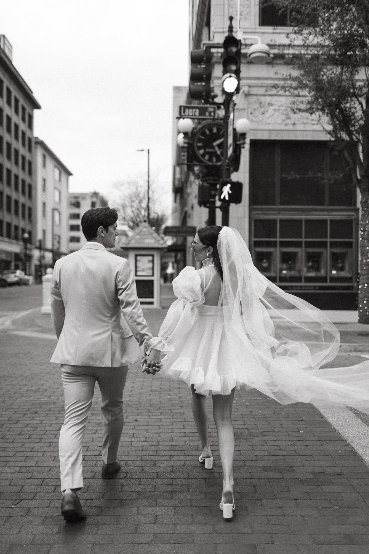 Romantic Downtown Elopement with Short wedding Dress