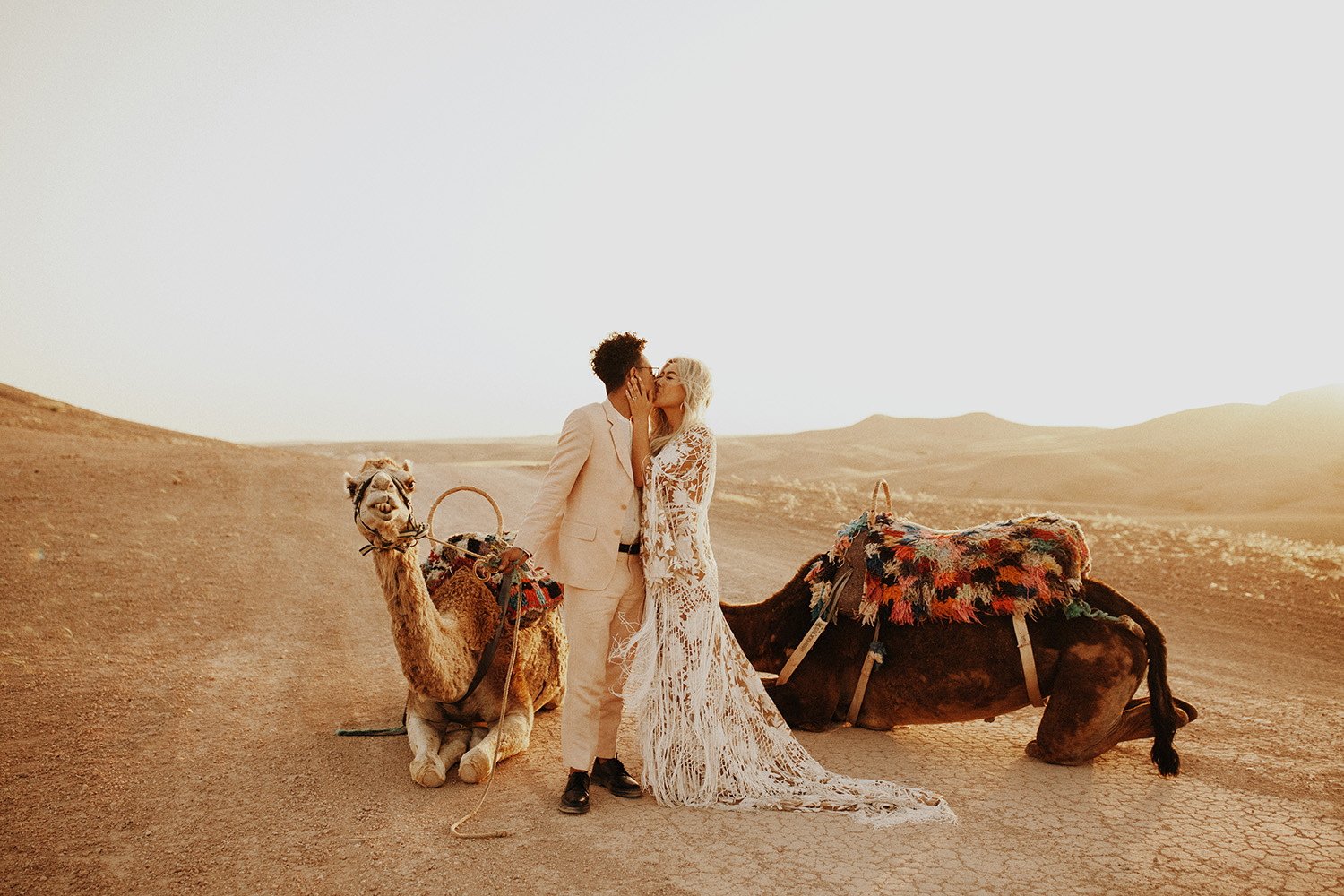 intimate moroccan wedding with camels