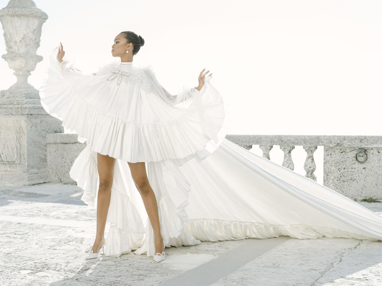 white cloak dress