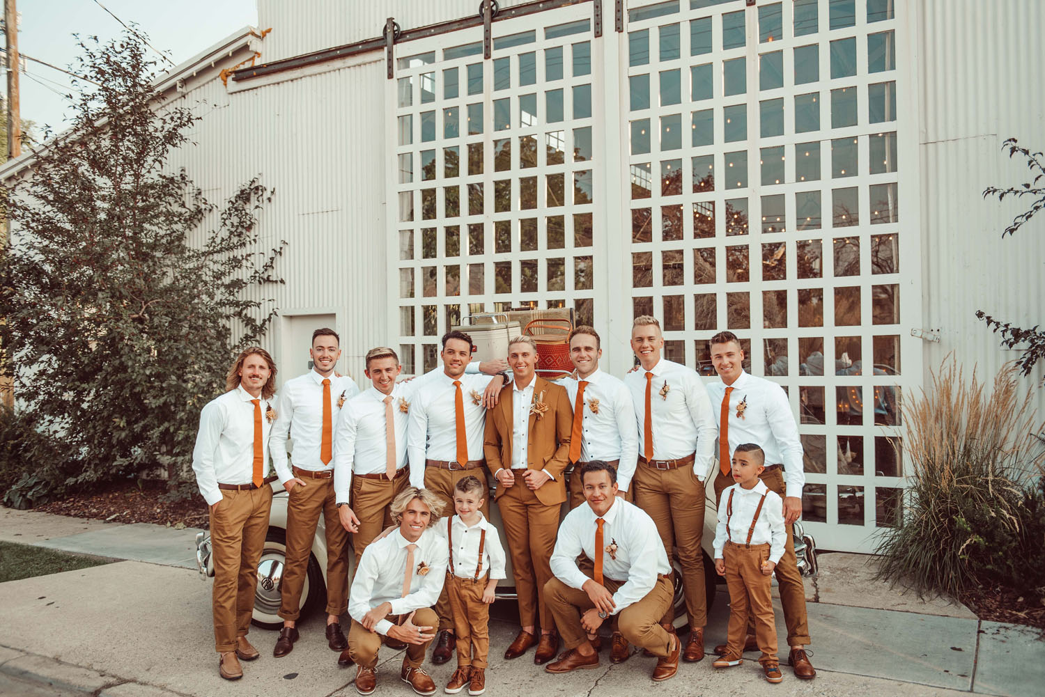 Groomsmen in Rust Ties