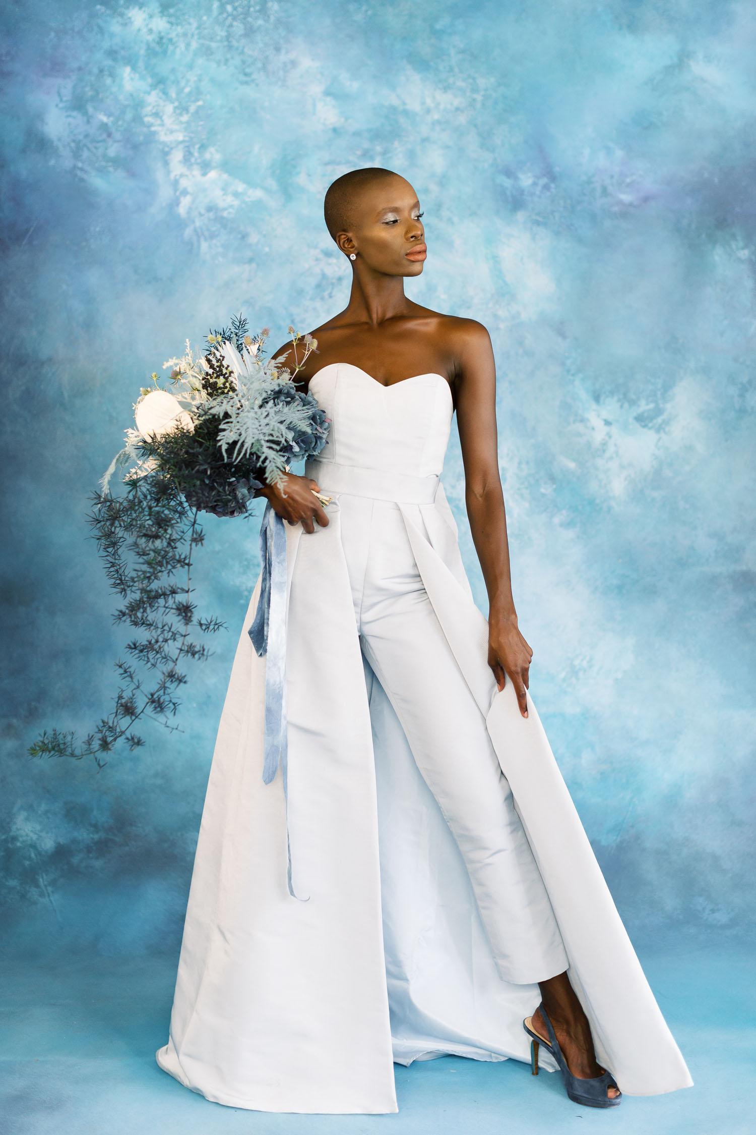 white pant suit dress