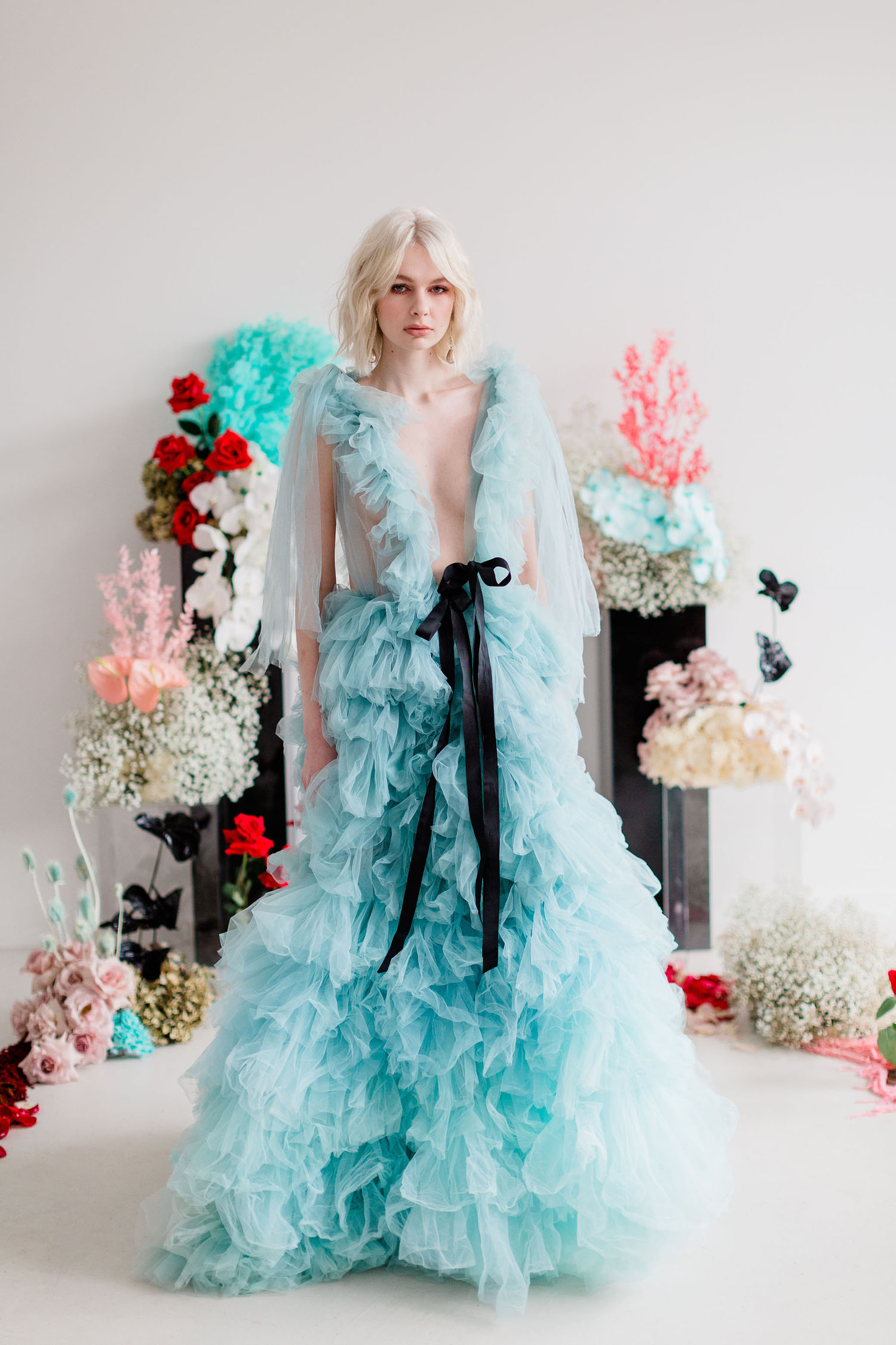 Blue Ruffle Gown Wedding Inspiration