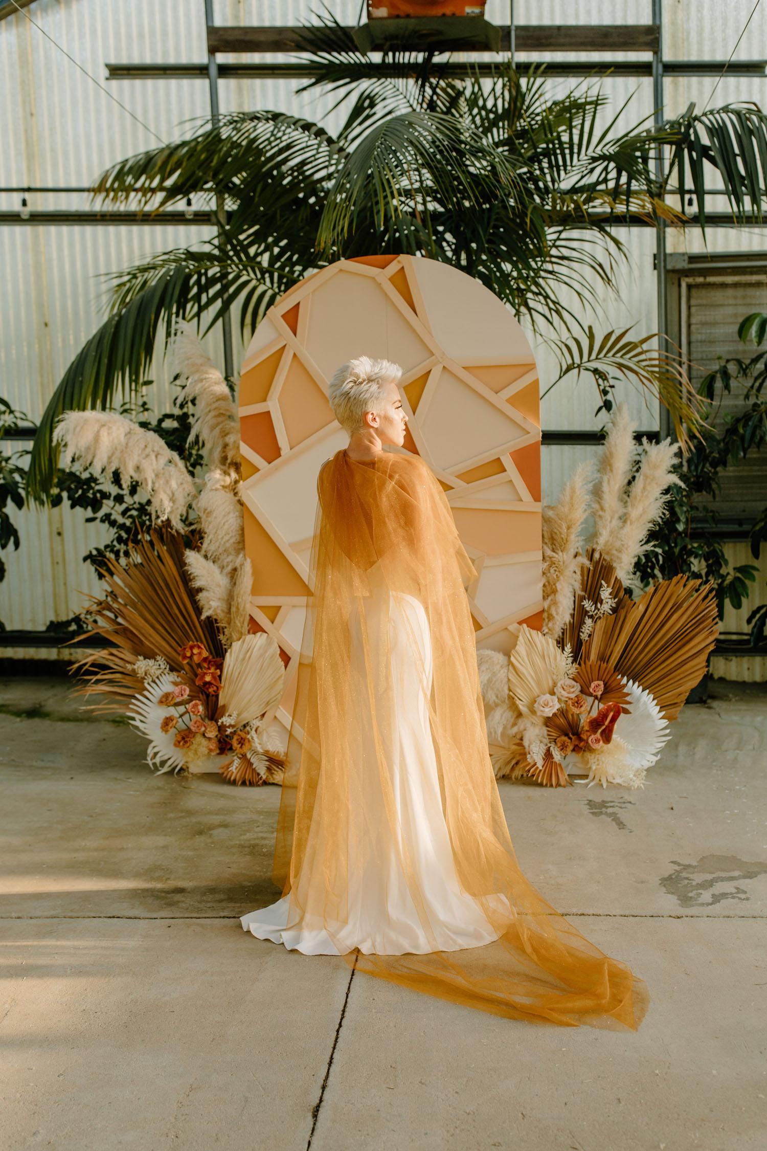 gold wedding cape