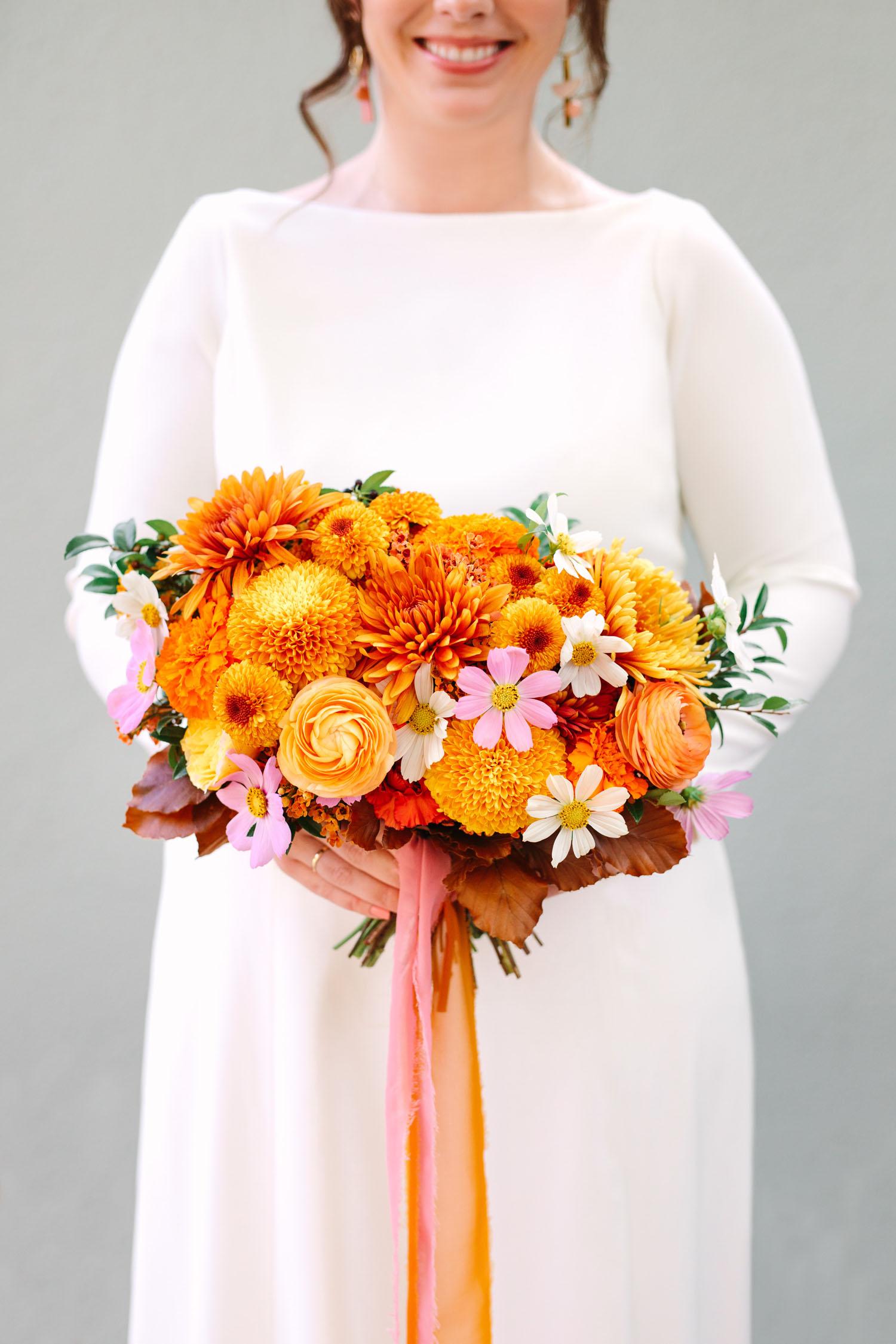 orange dahlia bouquet