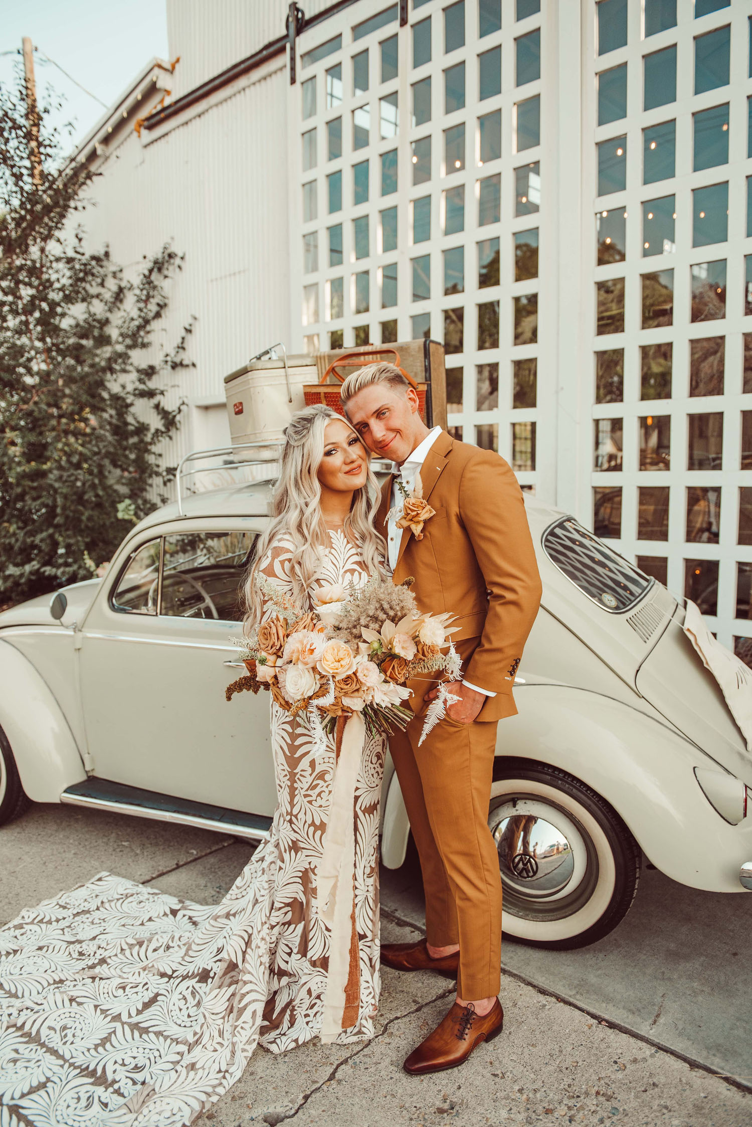 Boho Couple Wedding Attire