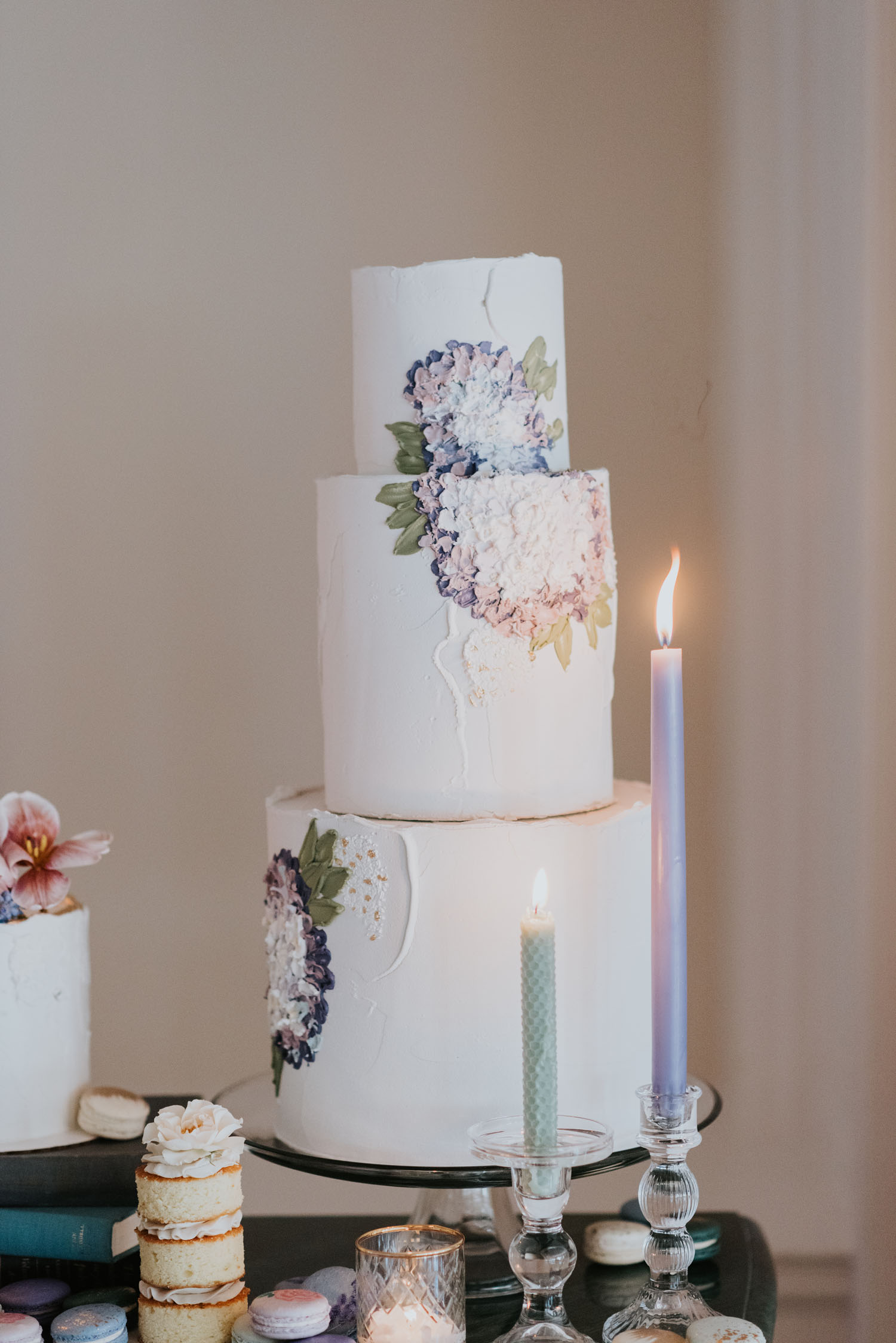 Flowers painted wedding cake