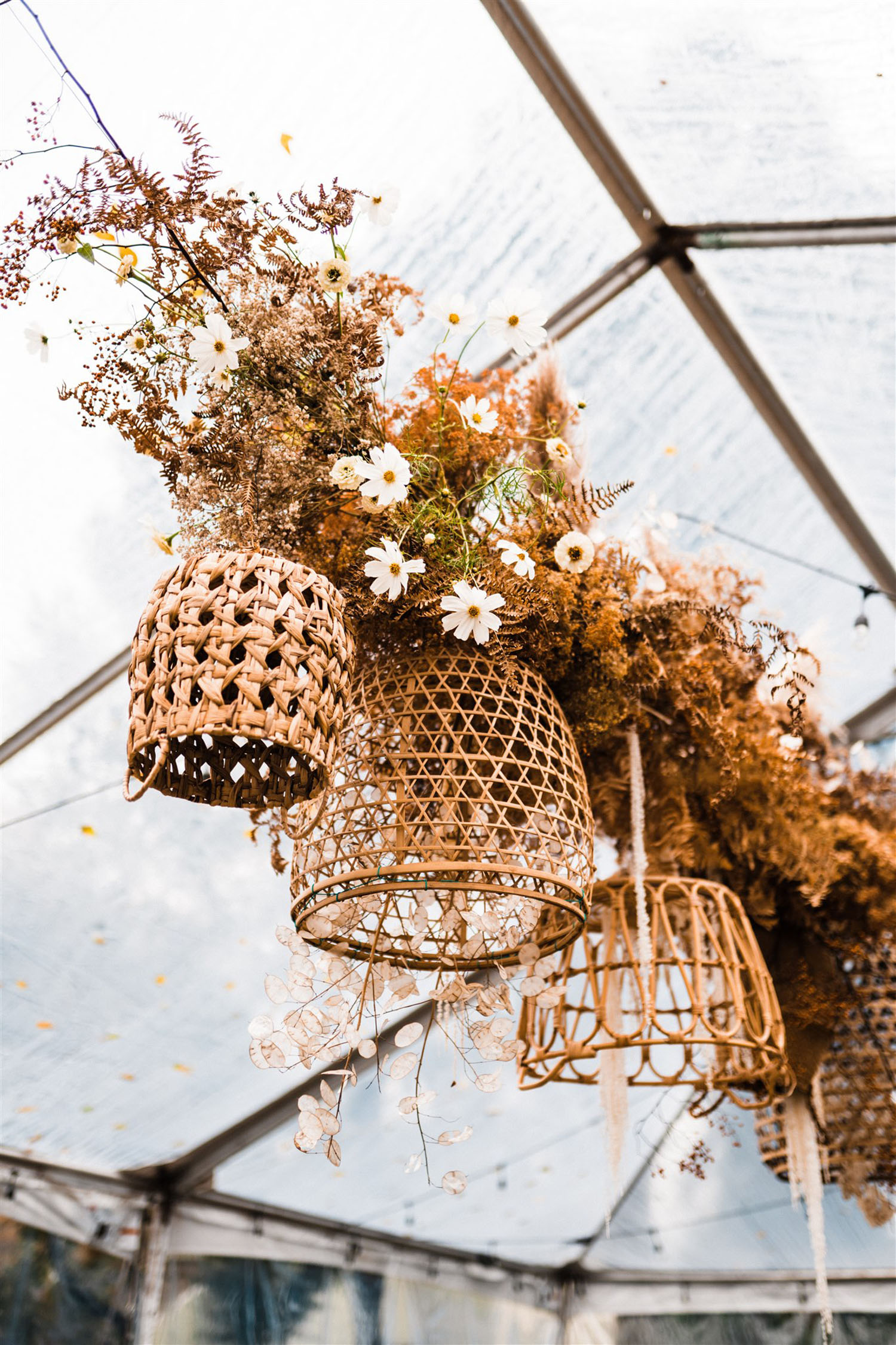 rattan basket chandelier