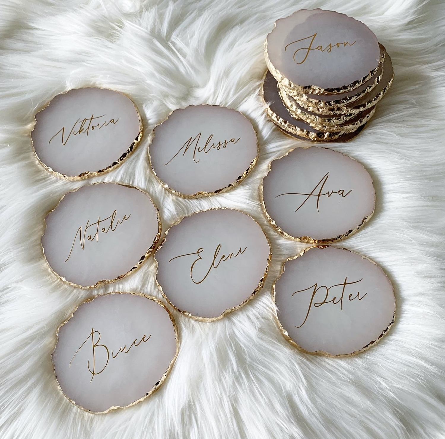 Agate coasters wedding favors