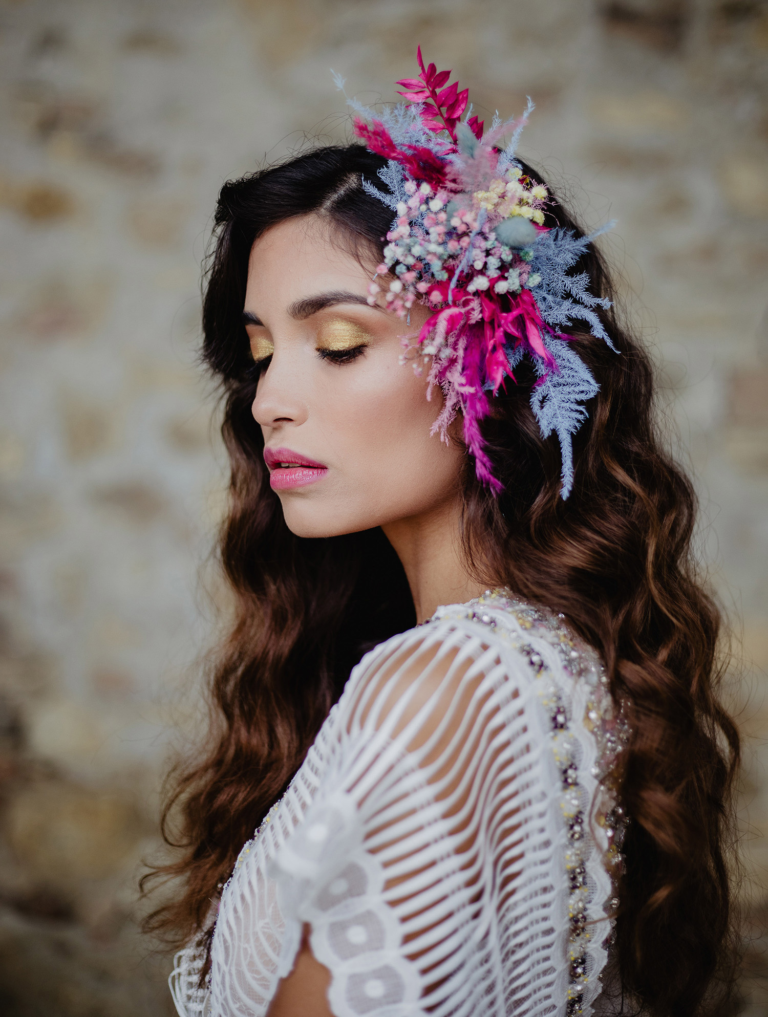 pink and purple dried flowers hair