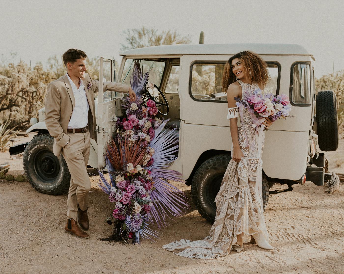boho wedding with purple palms