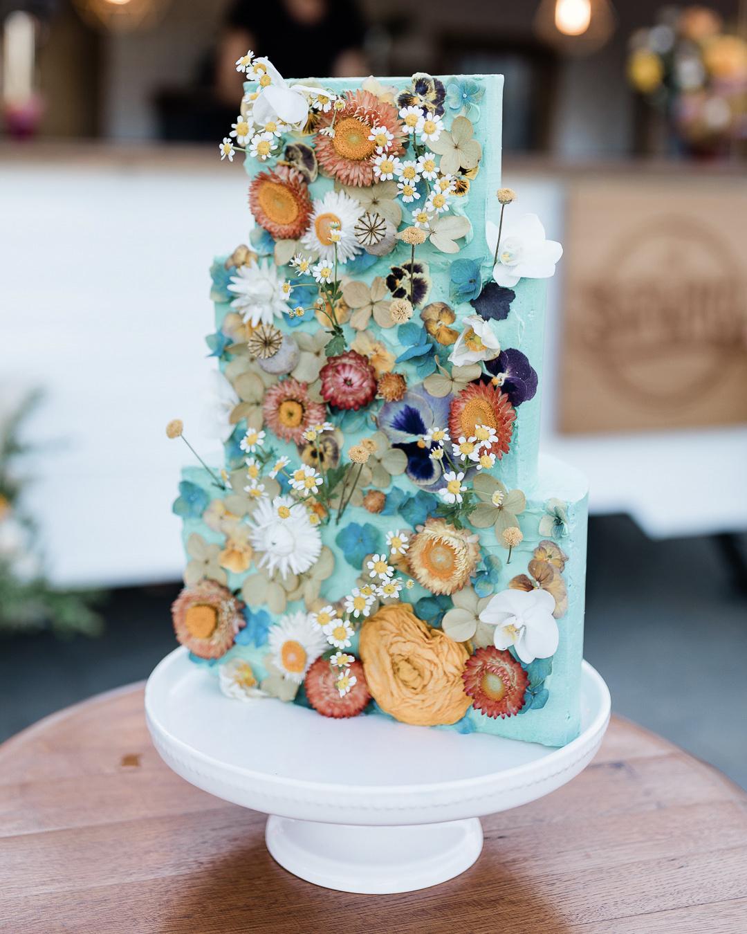spring cake pressed flowers