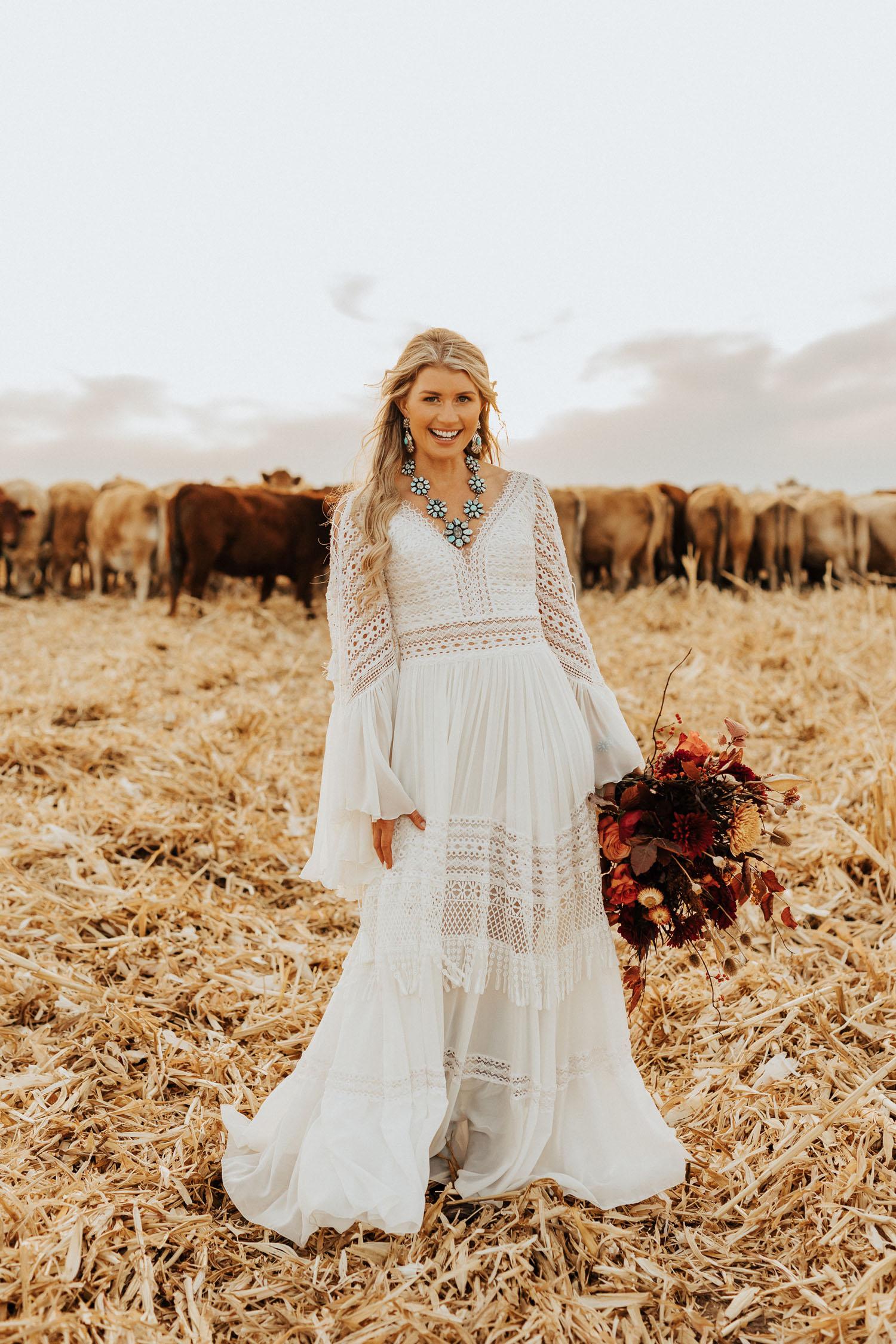 boho bride in Inbar Freiman Dress