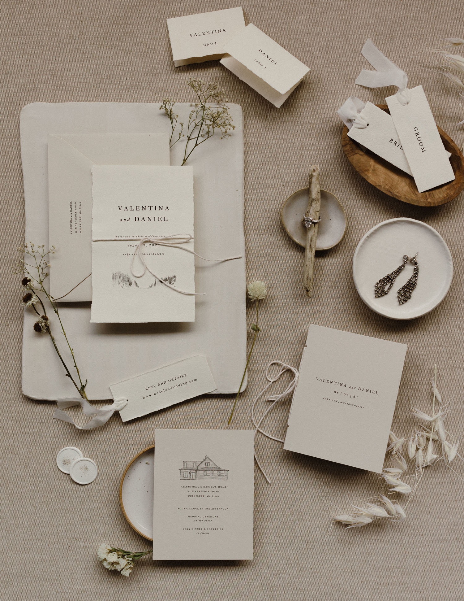 neutral wedding invitation flat lay