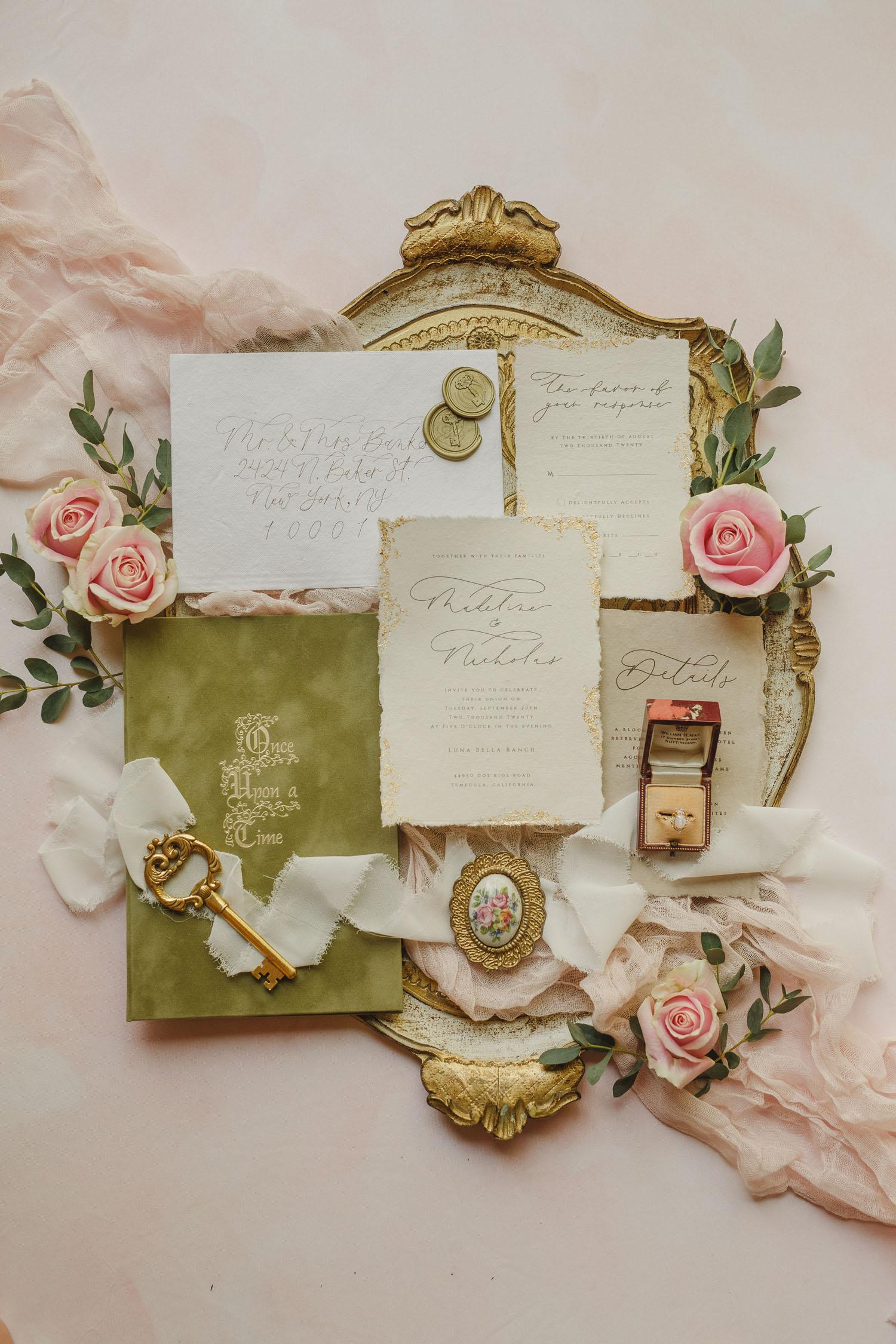vintage invitation flat lay