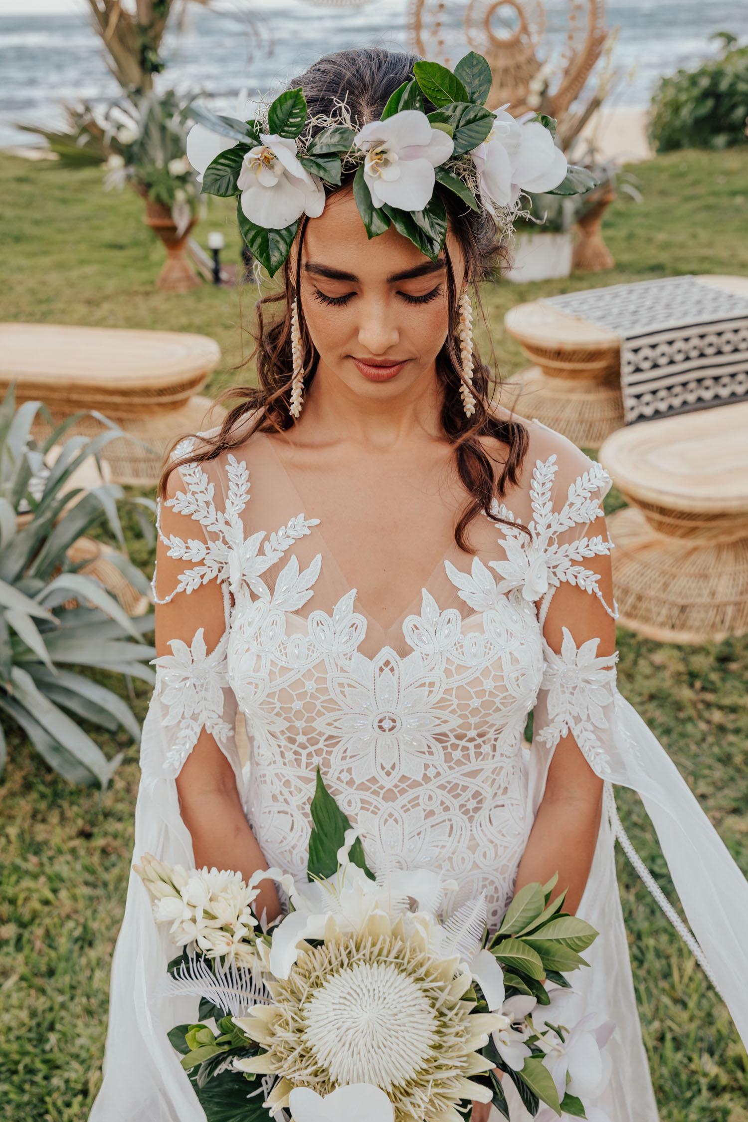 white tropical bouquet