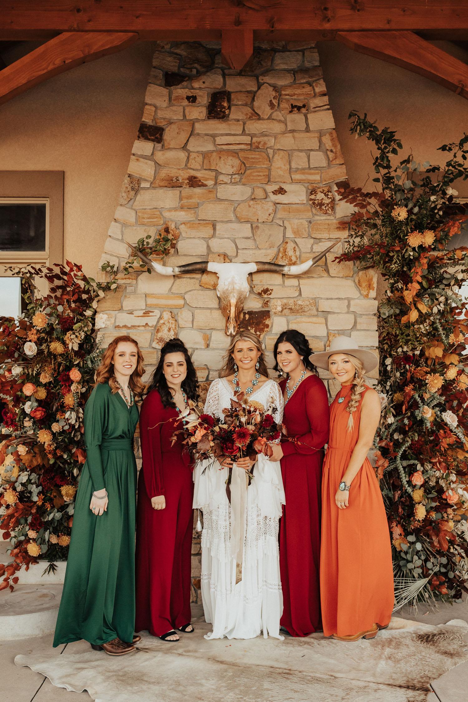 boho bride and bridesmaids in fall colors