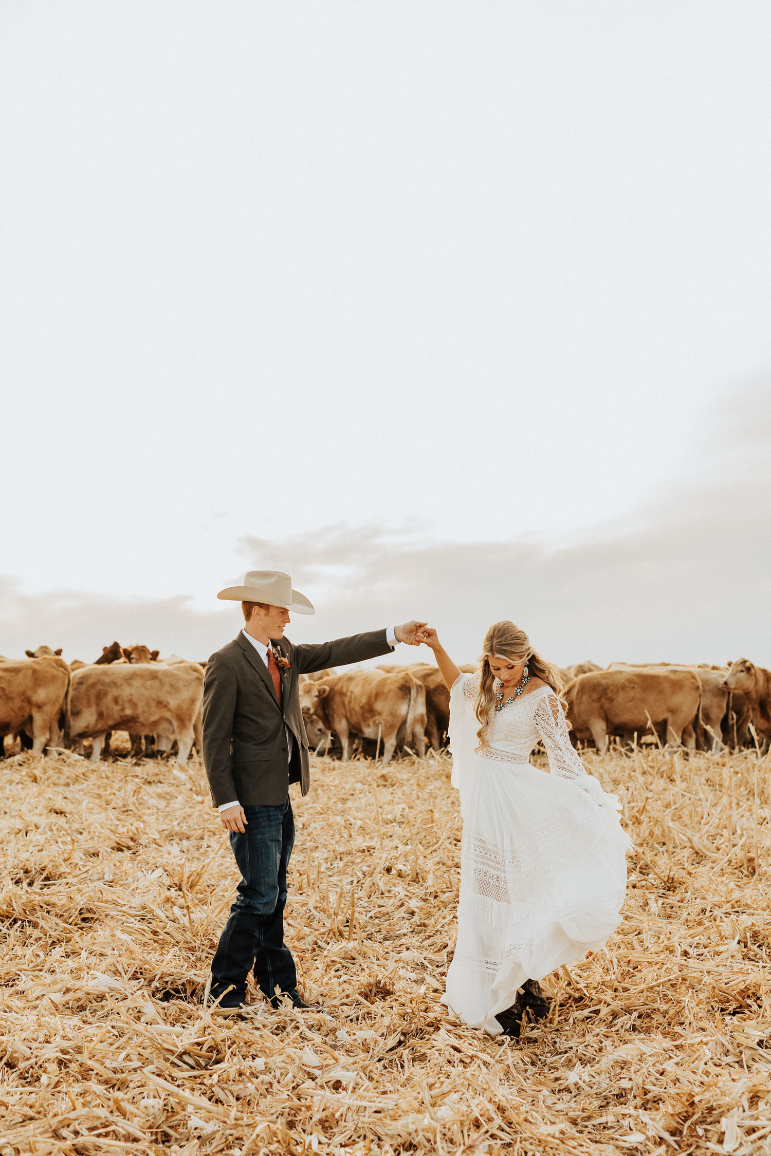 bride and groom on a cattle ranch