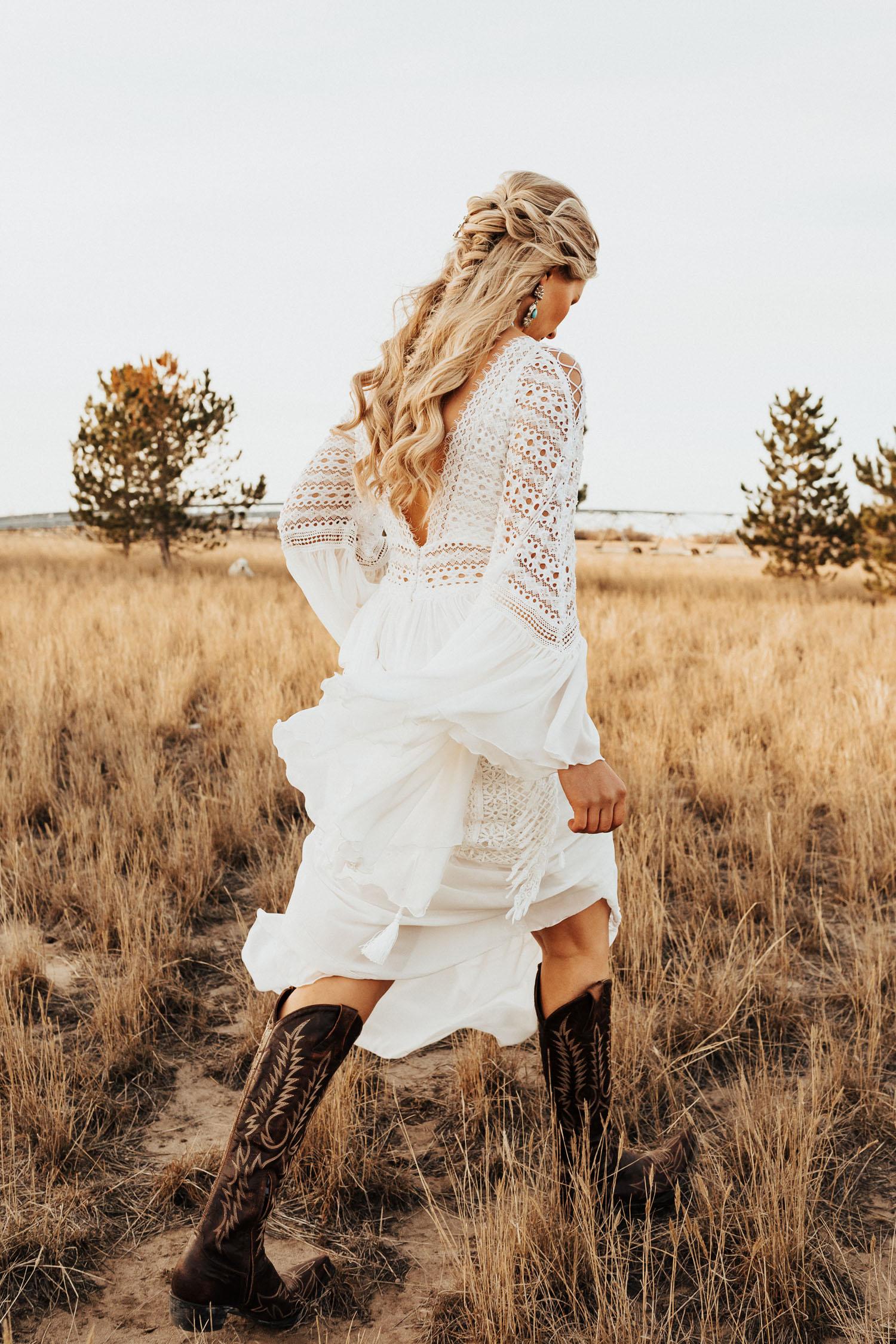 boho bridal hair and Inbar Freiman Dress