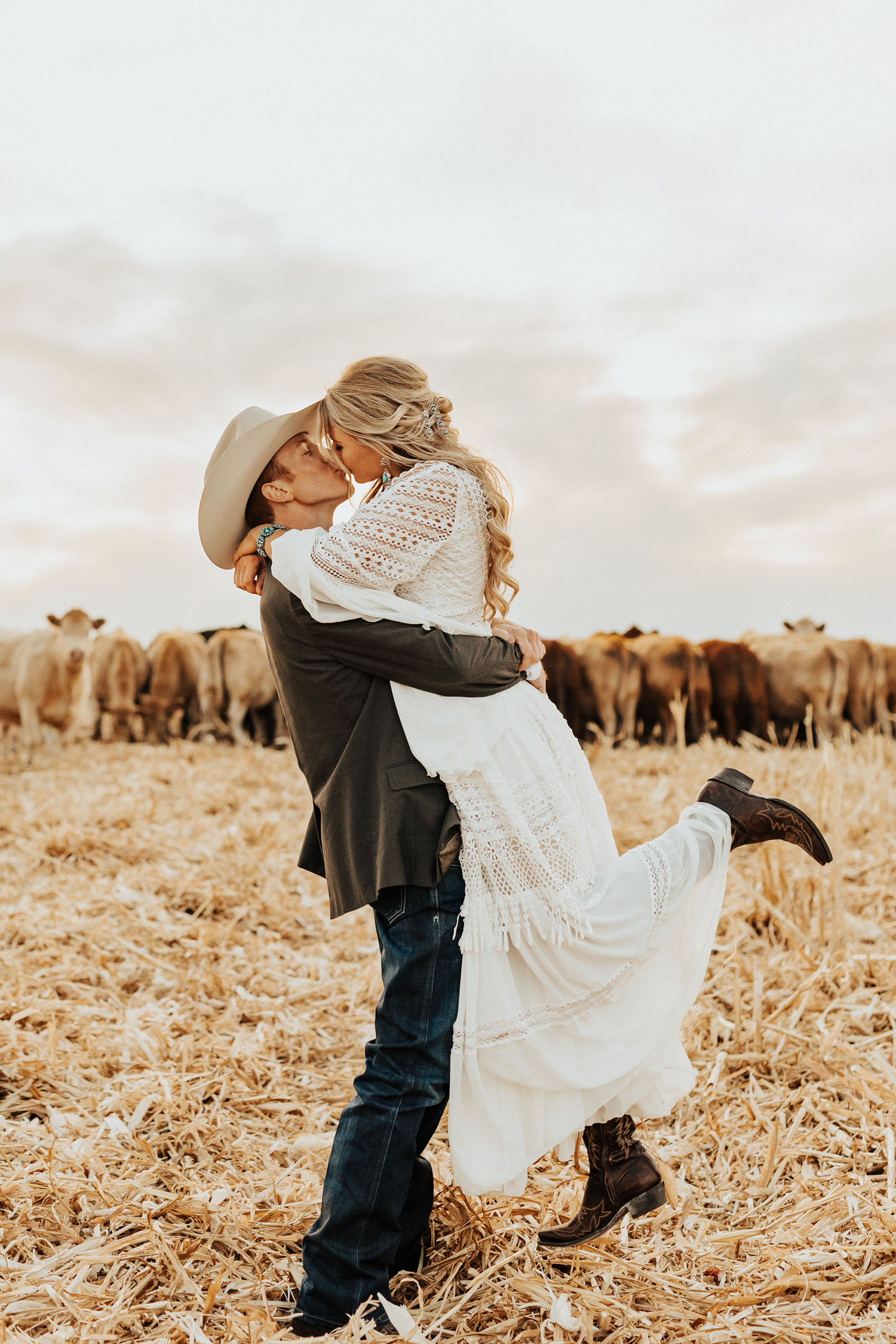 newlyweds on a cattle ranch