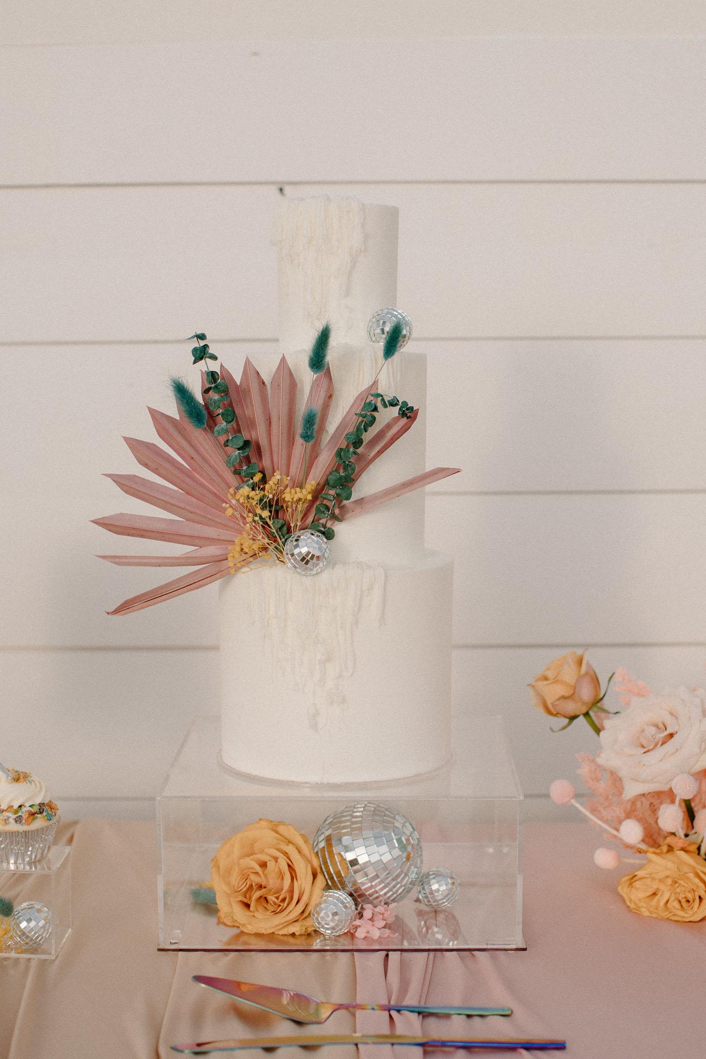 painted flower wedding cake