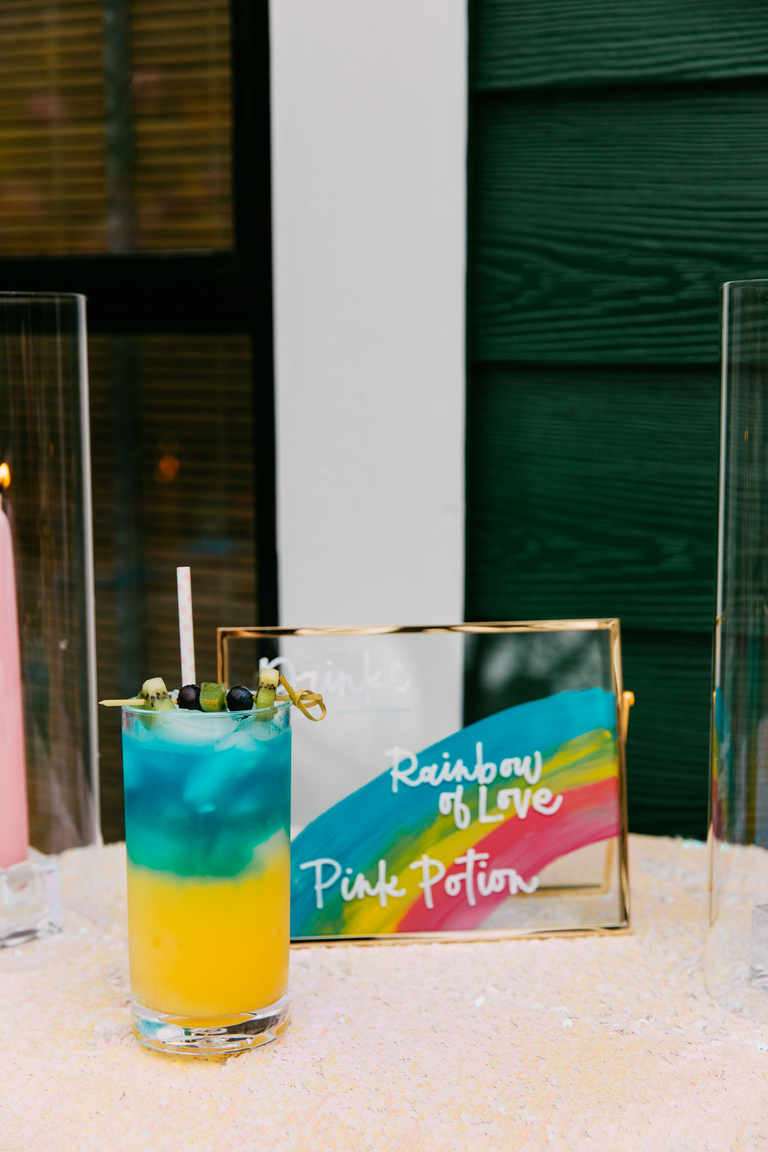 rainbow wedding signage
