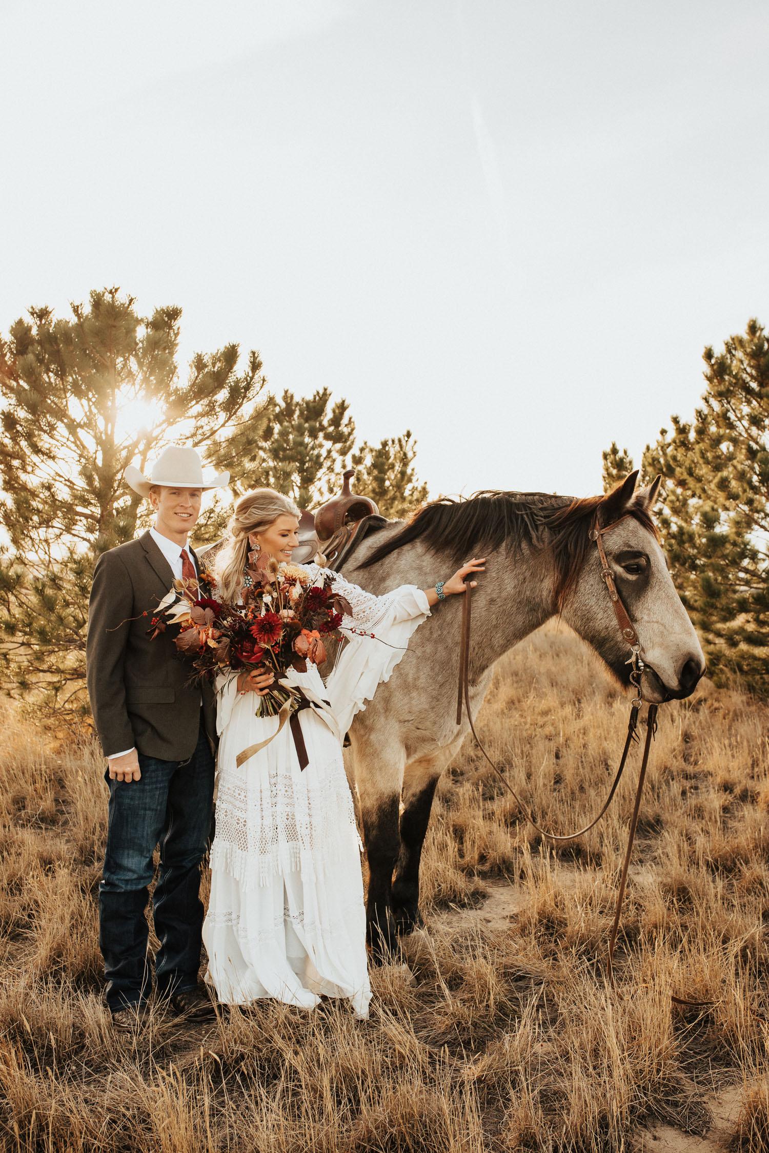 boho bride and horse Colorado ranch wedding