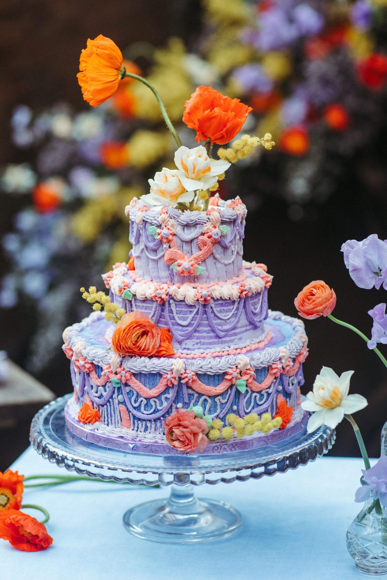Colorful Icing Wedding Cake