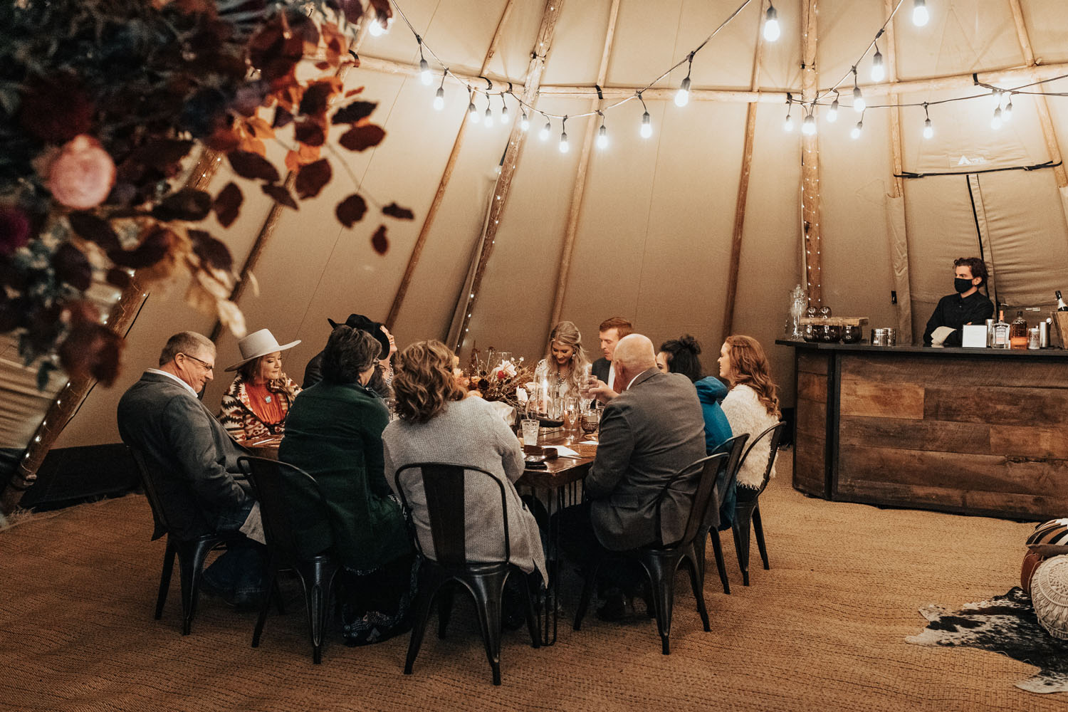micro wedding reception dinner in canvas tent