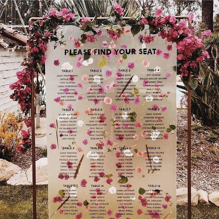 pressed flower wedding sign