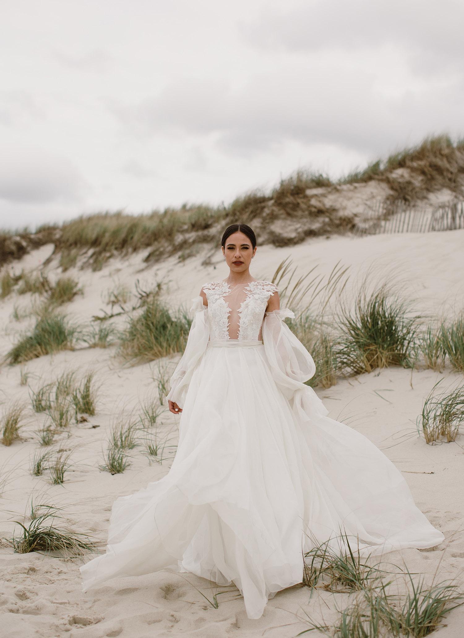 beach wedding dress for a glam beach wedding