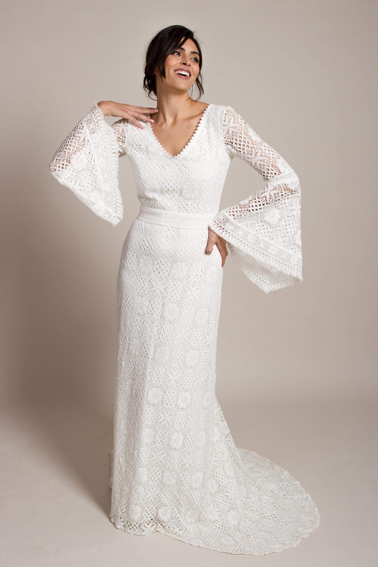 bell sleeve lace wedding dress