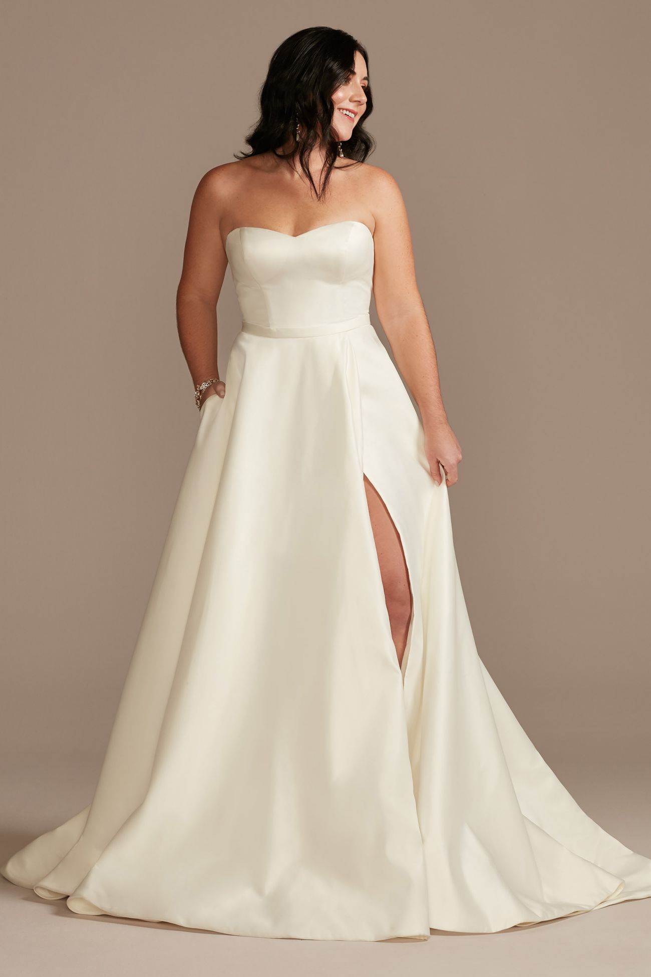 David's Bridal sweetheart neckline high-slit dress